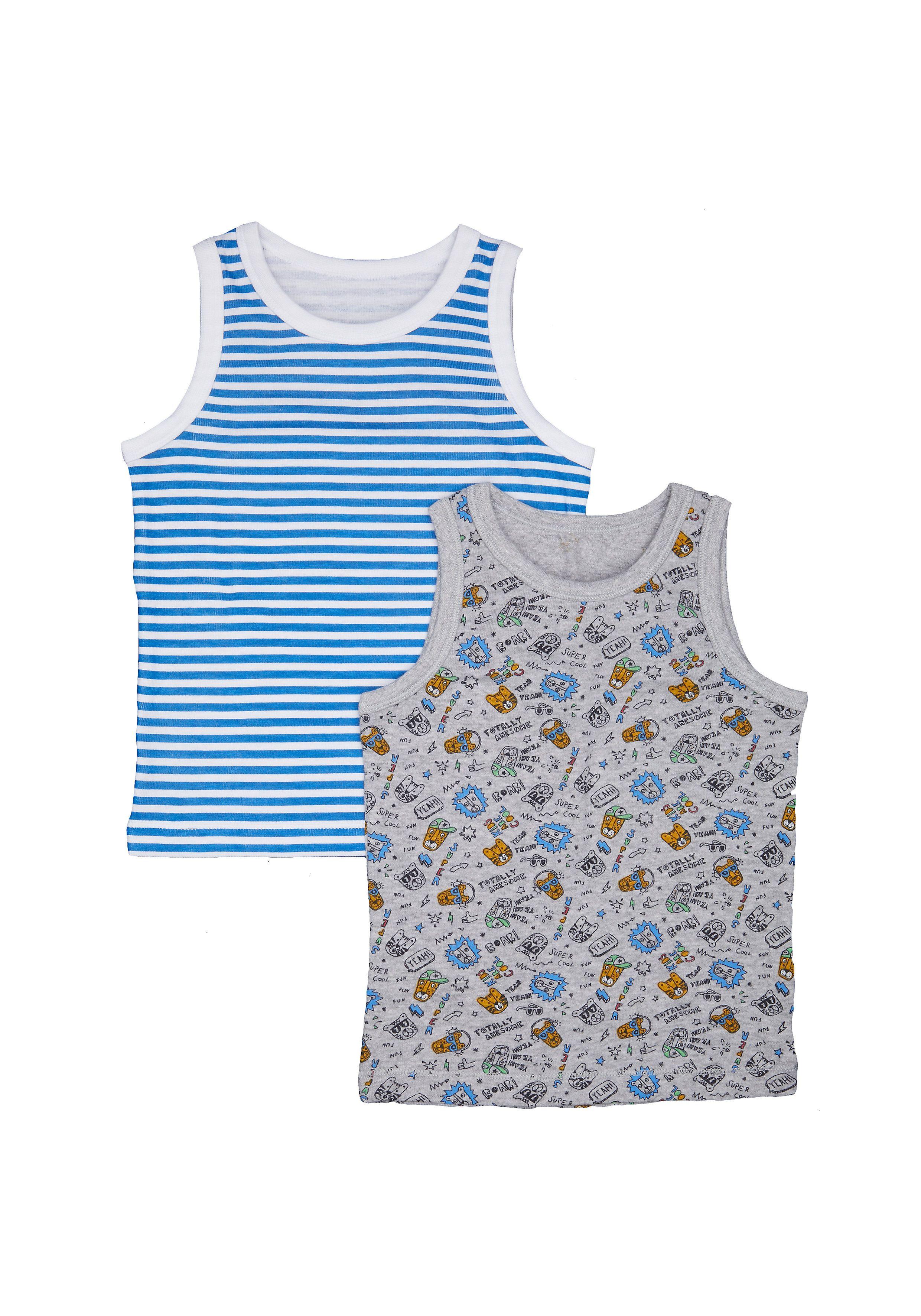Mothercare   Boys Leopard Vests - 2 Pack - Grey
