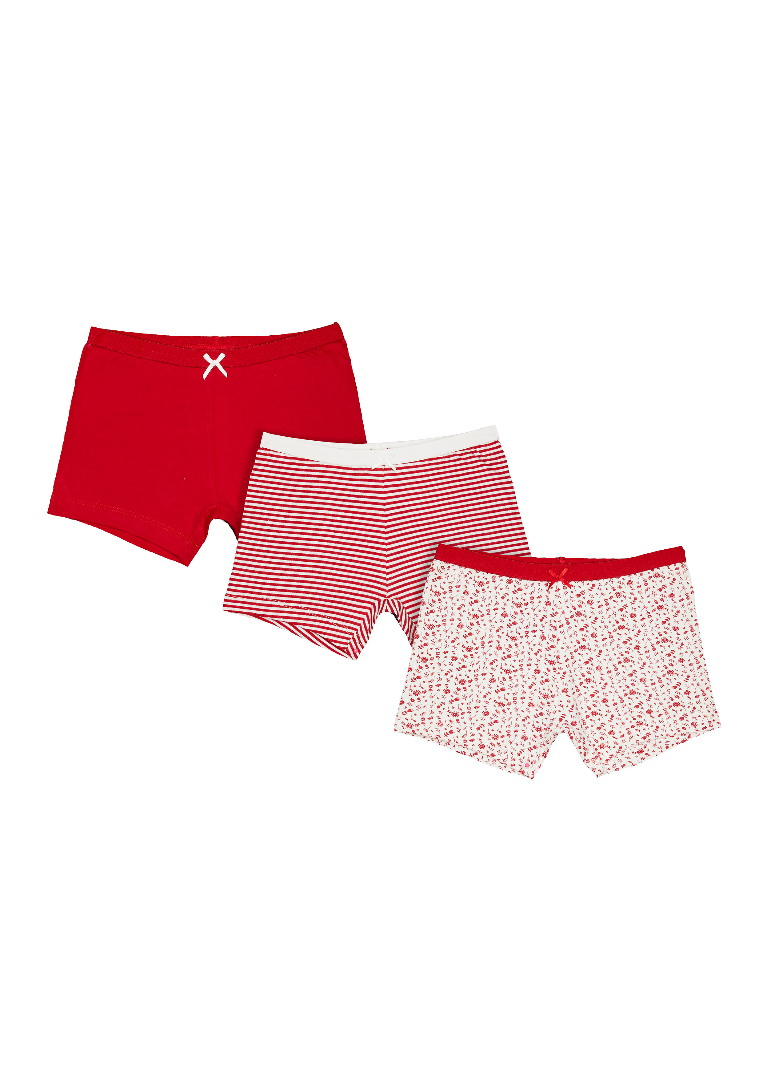 Mothercare | Girls Floral Shorts - 3 Pack - Red