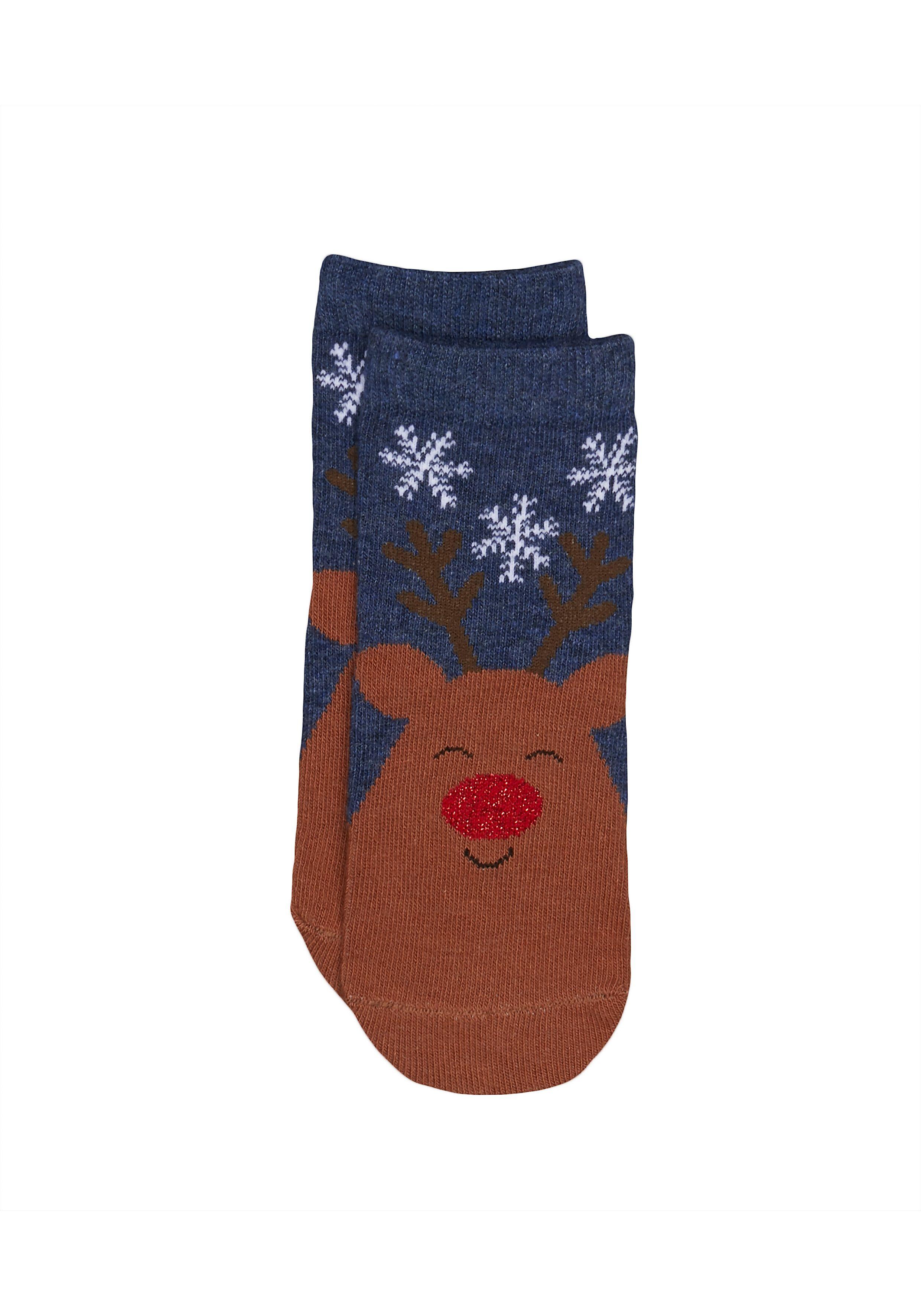 Mothercare | Unisex Reindeer Socks - Blue
