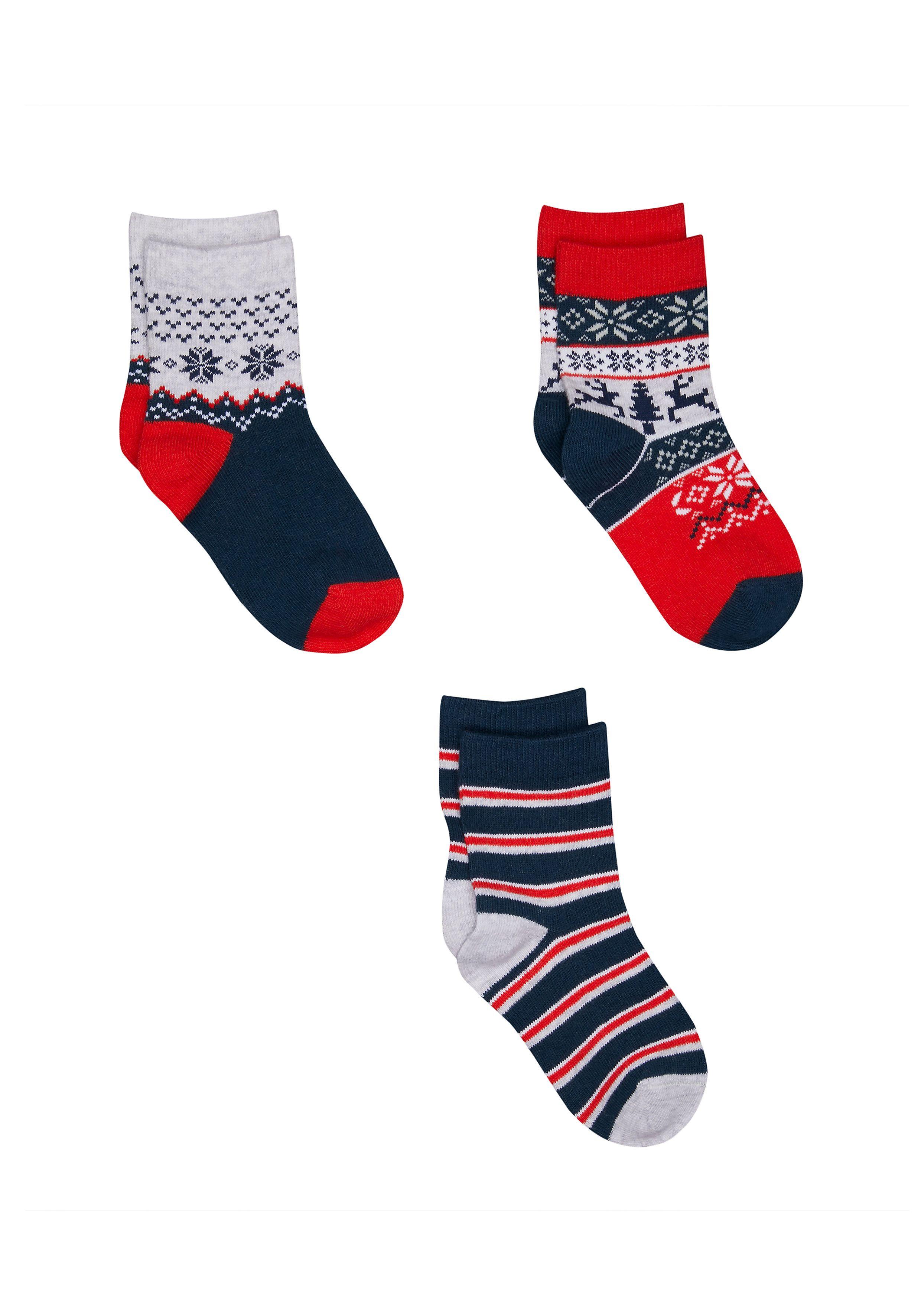 Mothercare | Boys Fairisle Socks - 3 Pack - Red