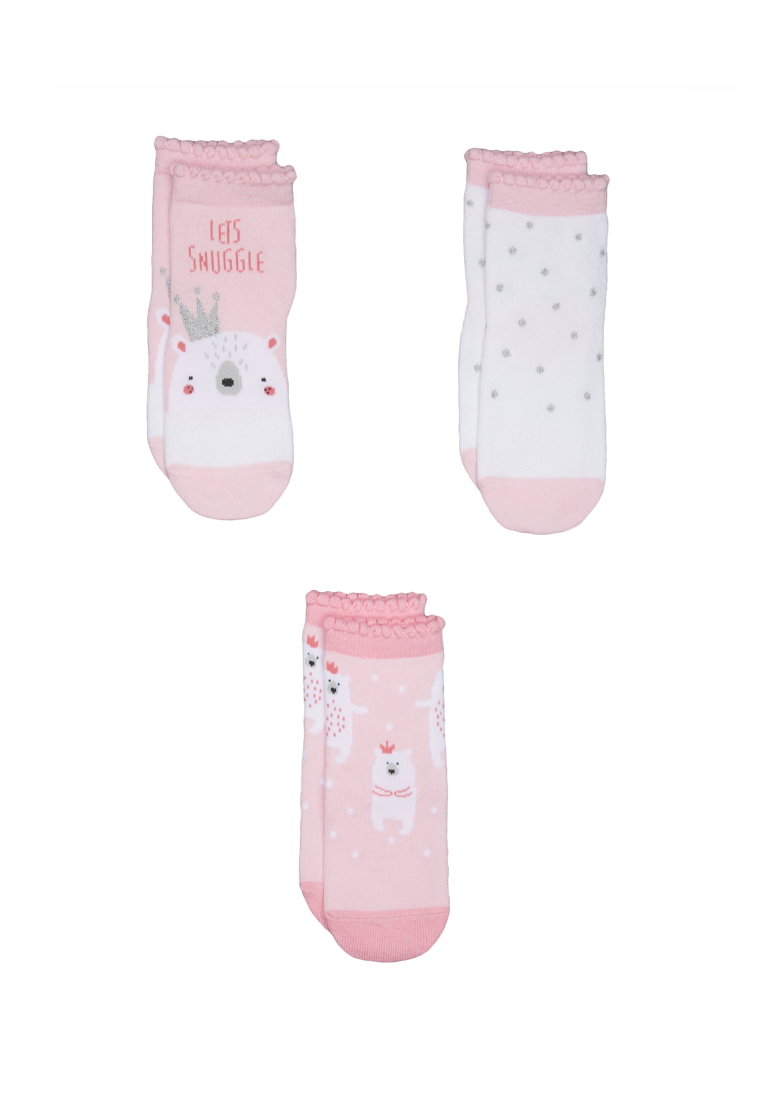 Mothercare | Girls Pink Polar Bear Socks - 3 Pack - Pink