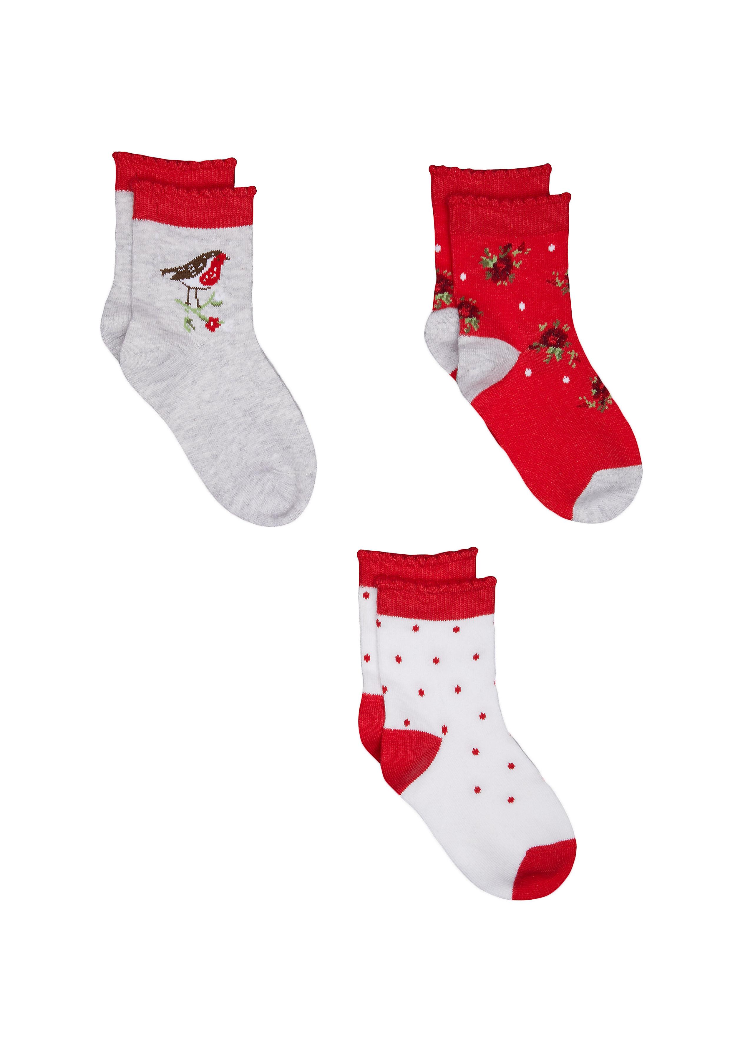 Mothercare | Girls Robin Socks - 3 Pack - Red