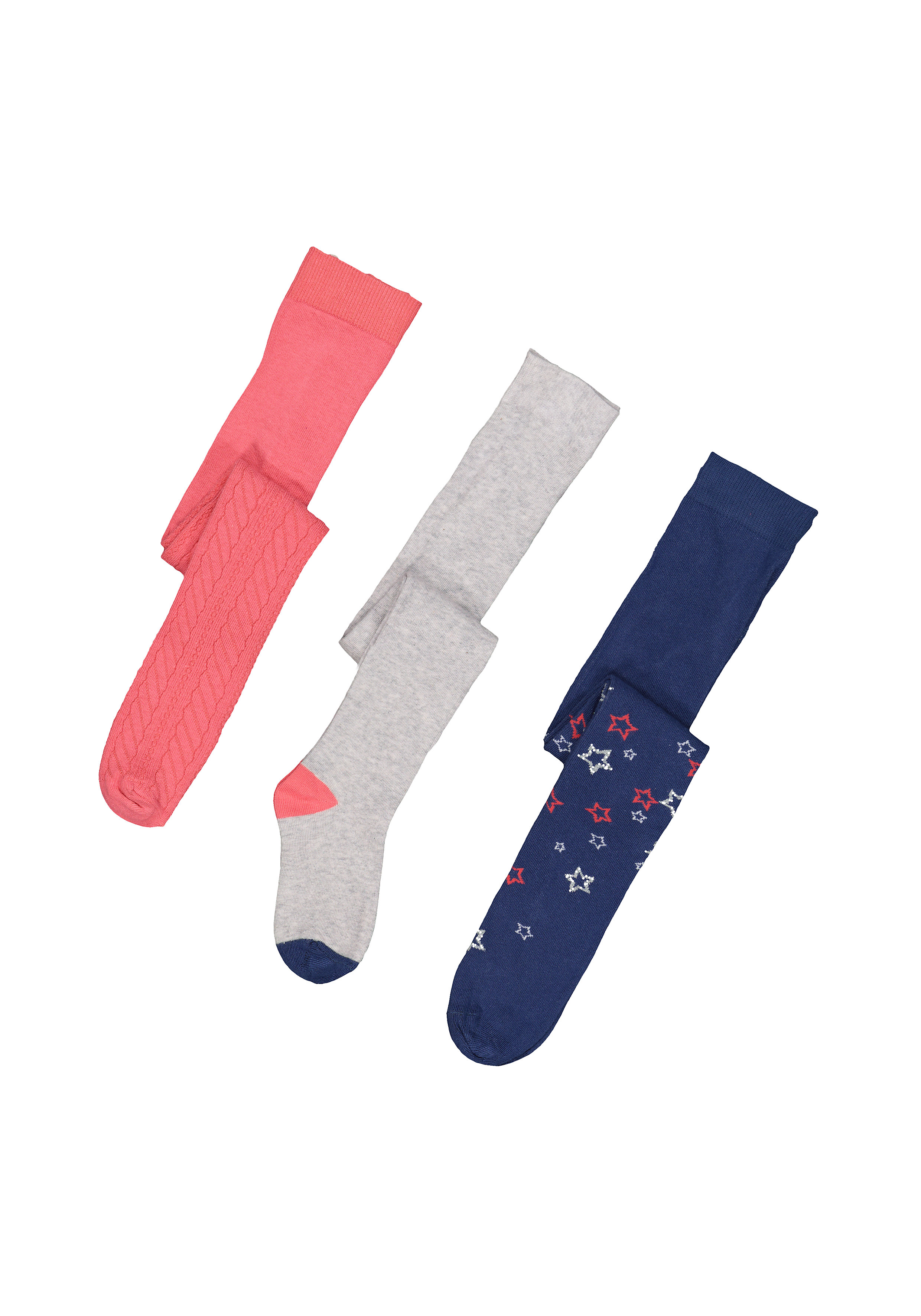 Mothercare | Girls Glitter Star Fashion Tights - 3 Pack - Pink