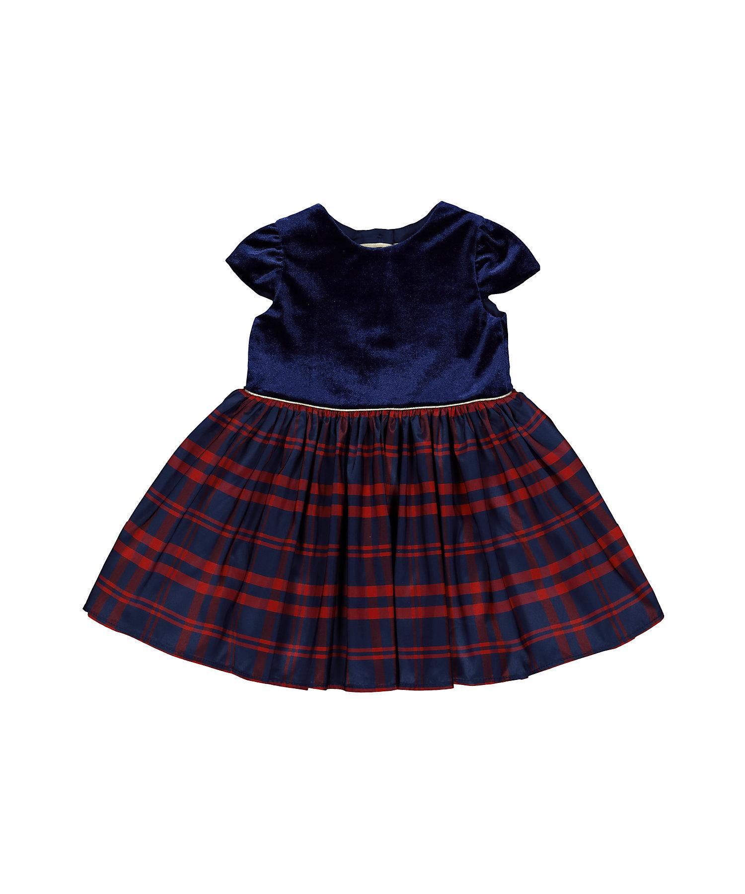 Mothercare | Blue Velvet Check Dress