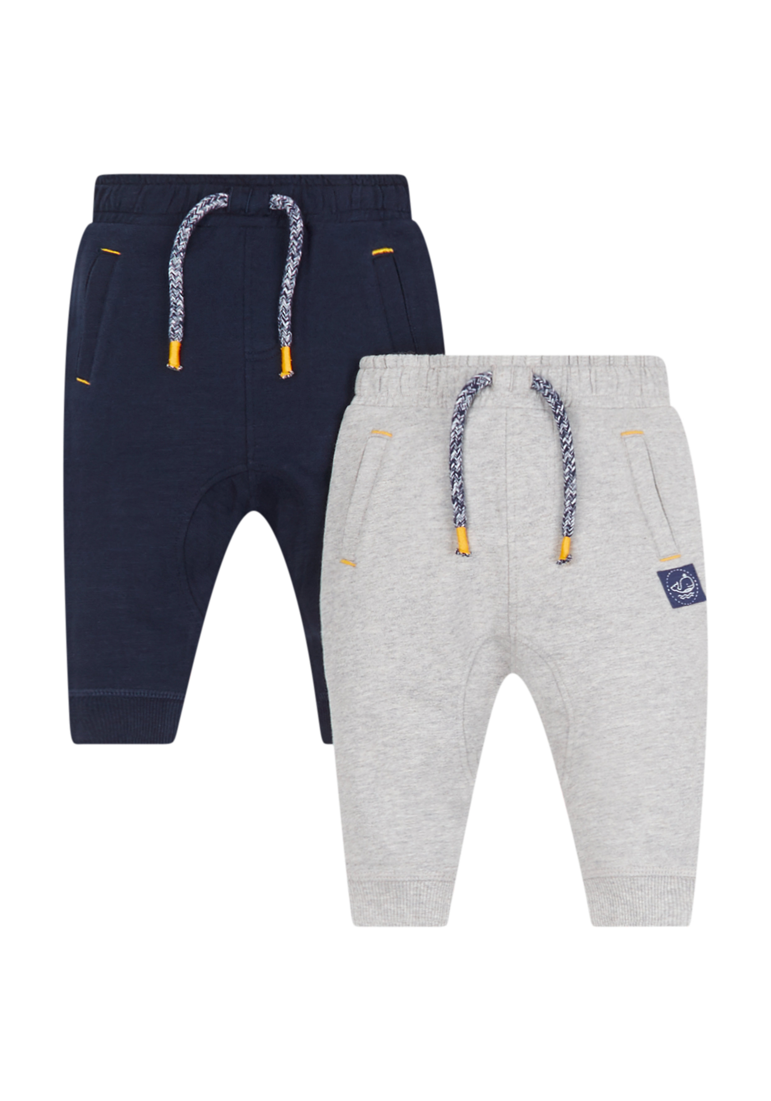 Mothercare   Boys Grey Marl And Navy Joggers - 2 Pack - Grey And Blue