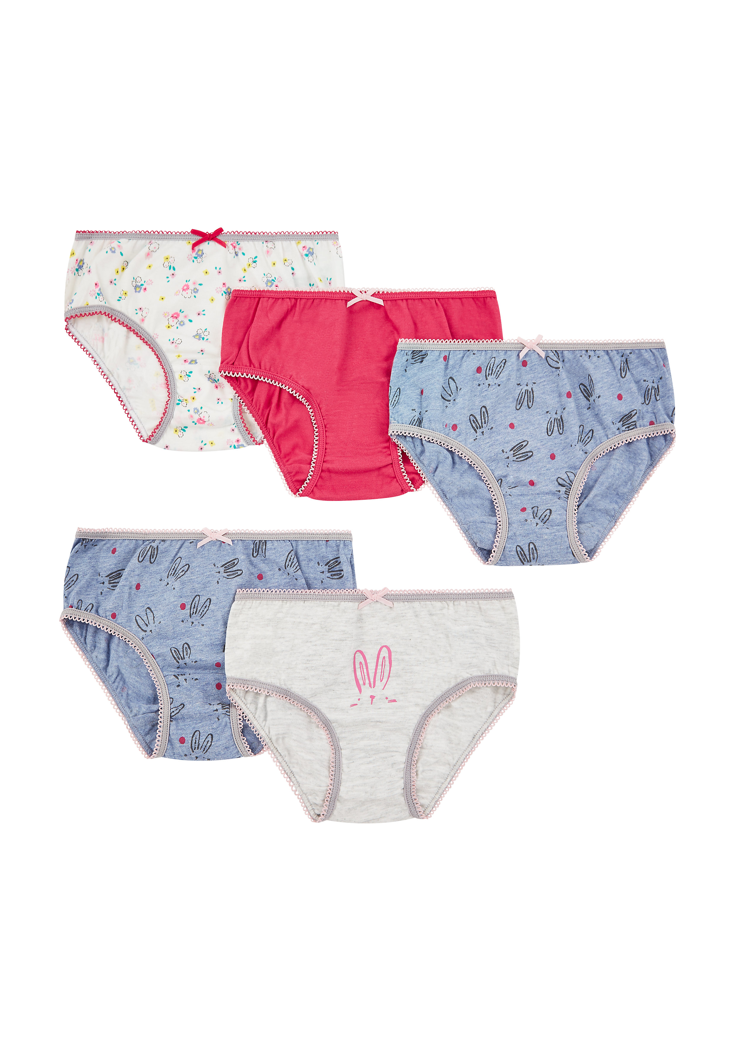 Mothercare   Girls Bunny Briefs - 5 Pack - Multicolor