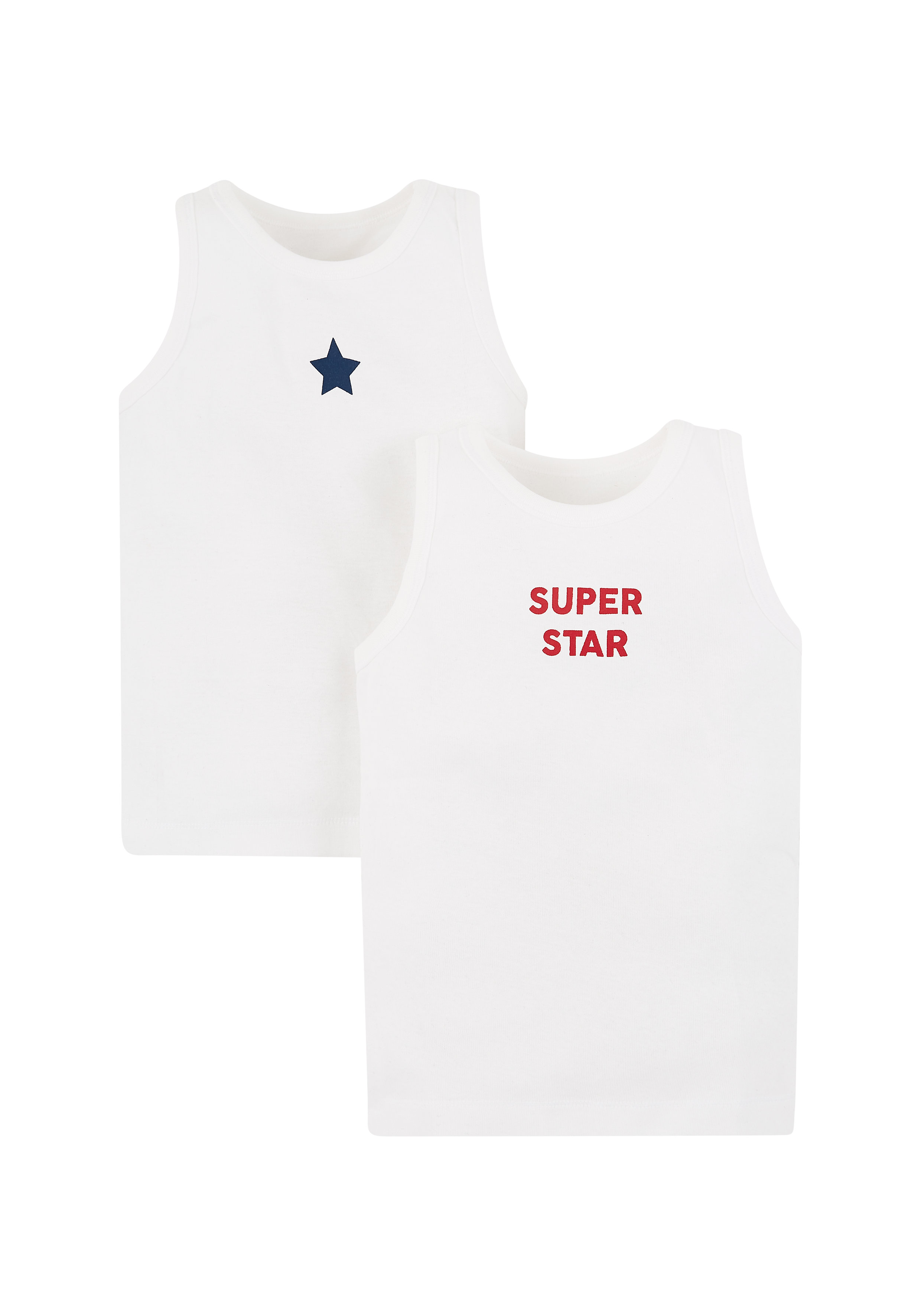 Mothercare   Boys Super Star Vests - 2 Pack - White