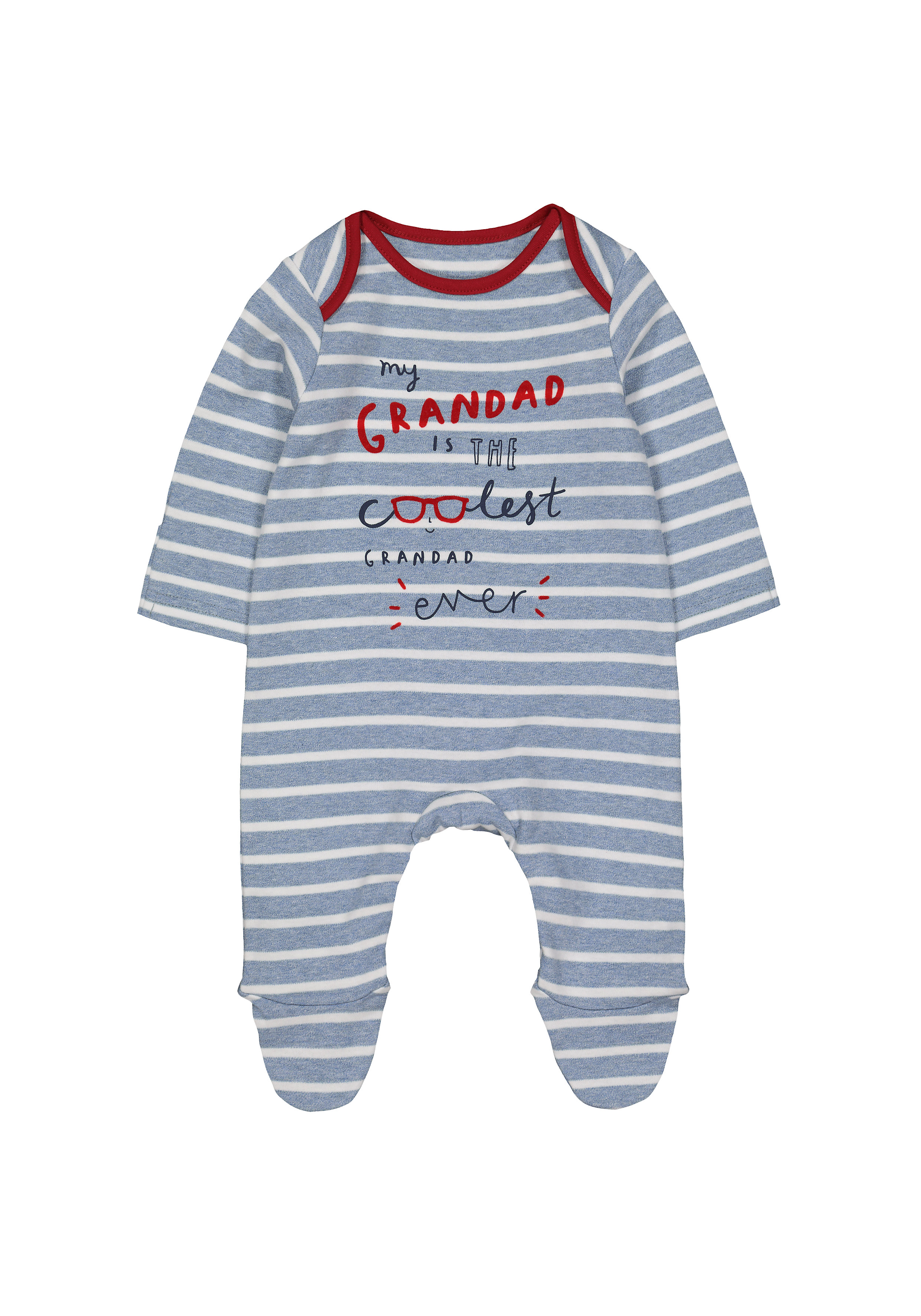 Mothercare   Boys Full Sleeves Sleepsuit Striped Text Print - Blue