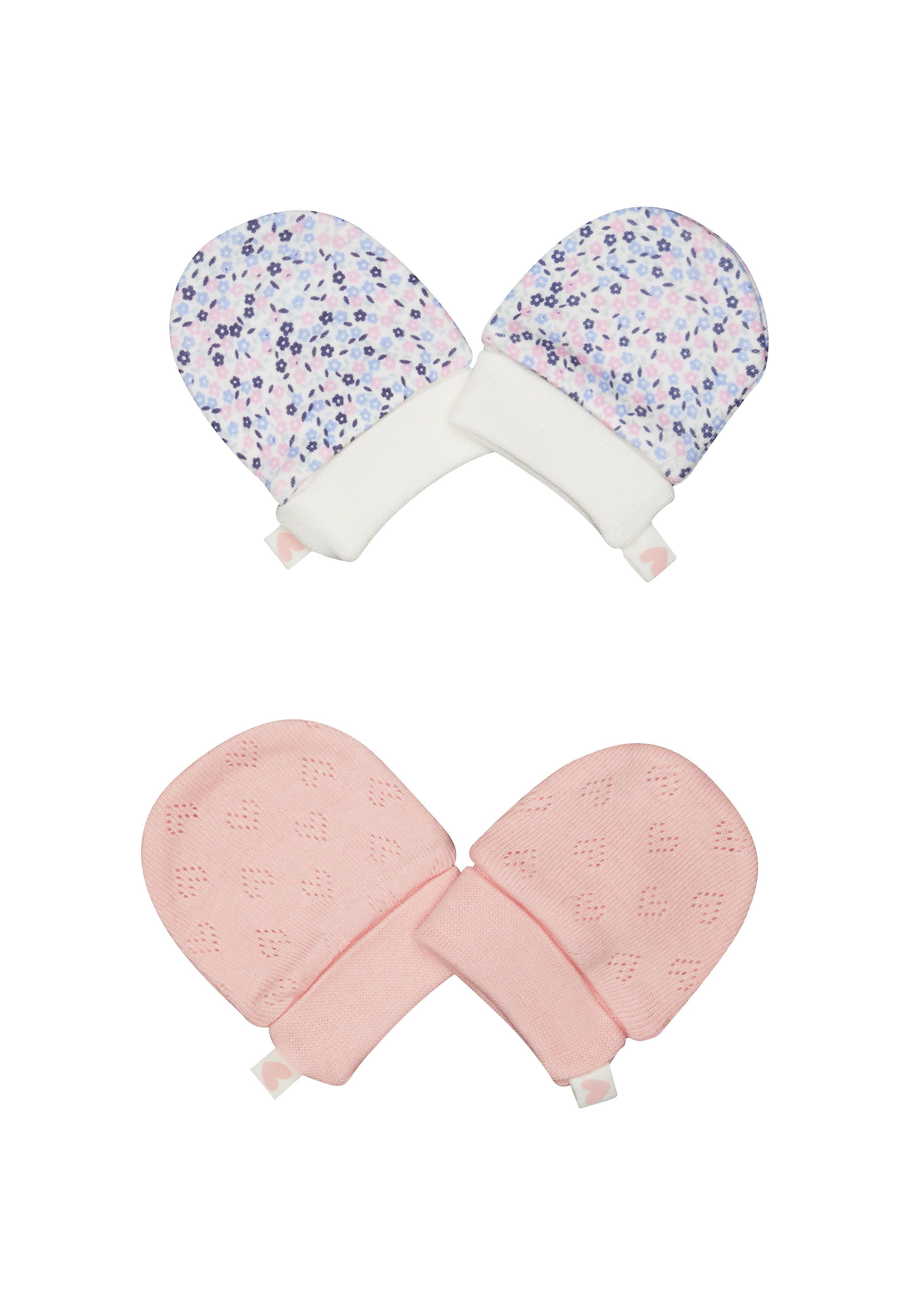 Mothercare | Girls Pink And Floral Scratch Mitts - 2 Pack - Pink