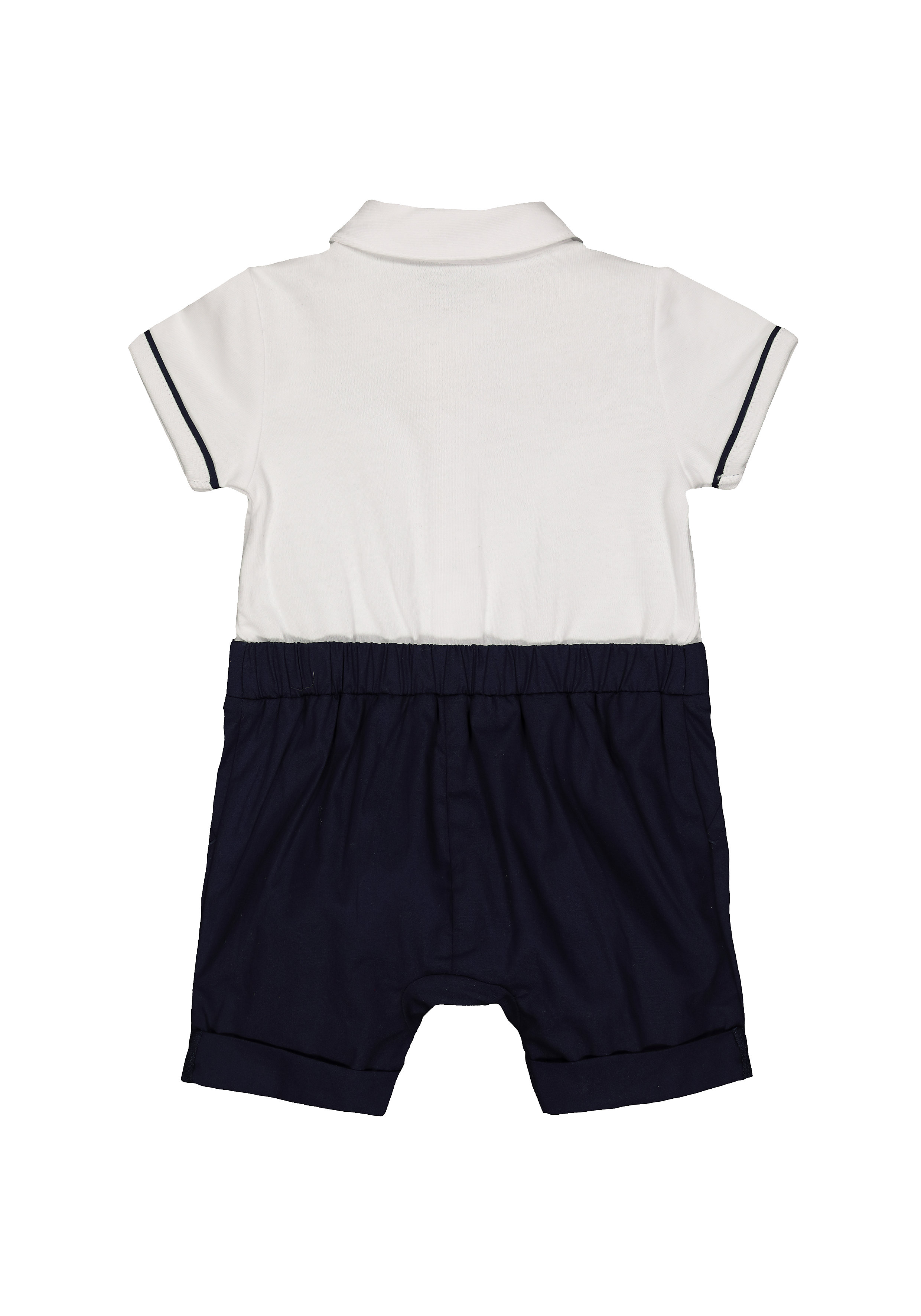 Mothercare | Boys Navy And White Mock Shirt And Braces Romper - Blue