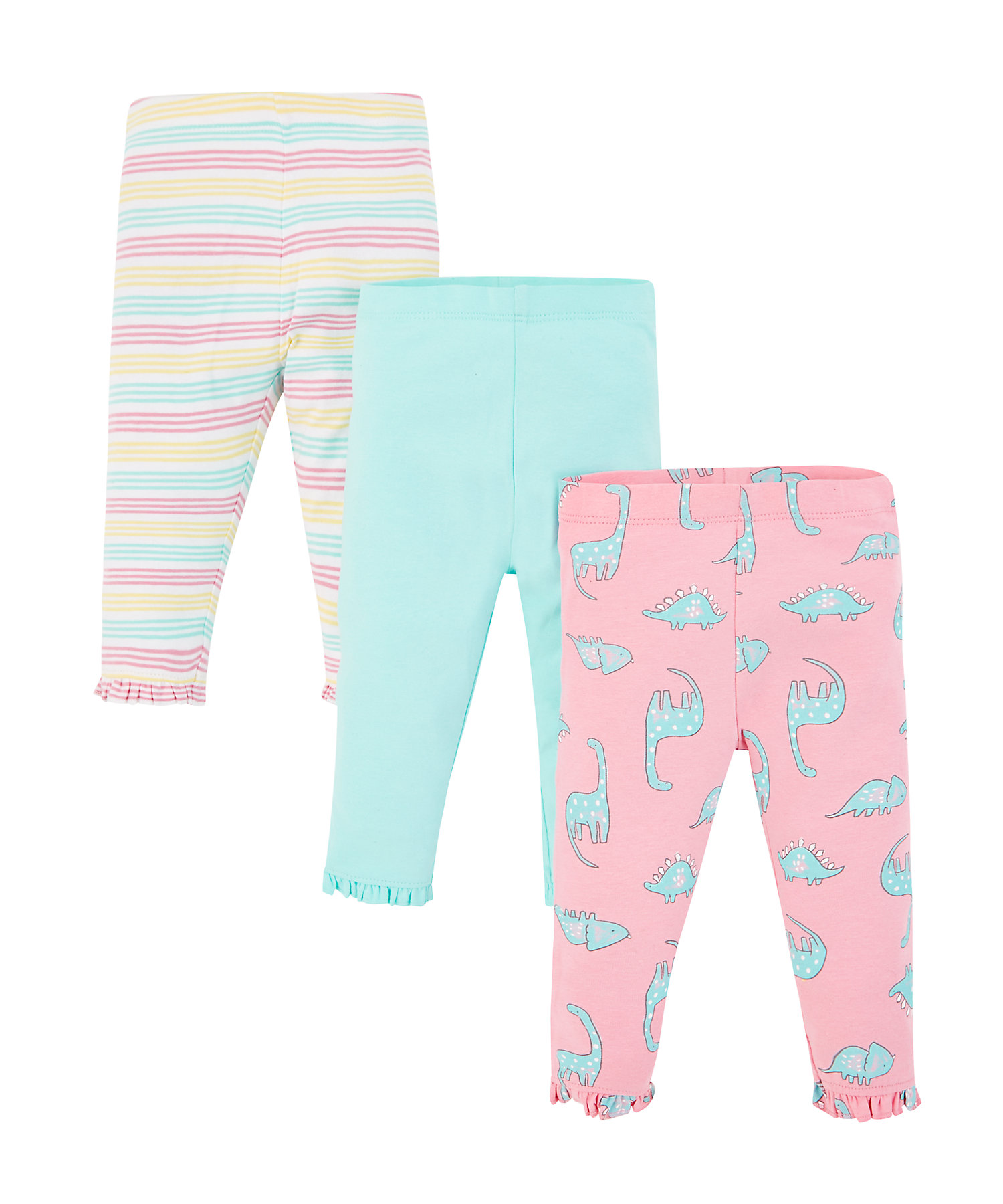 Mothercare | Dinosaur, Turquoise And Stripe Leggings – 3 Pack