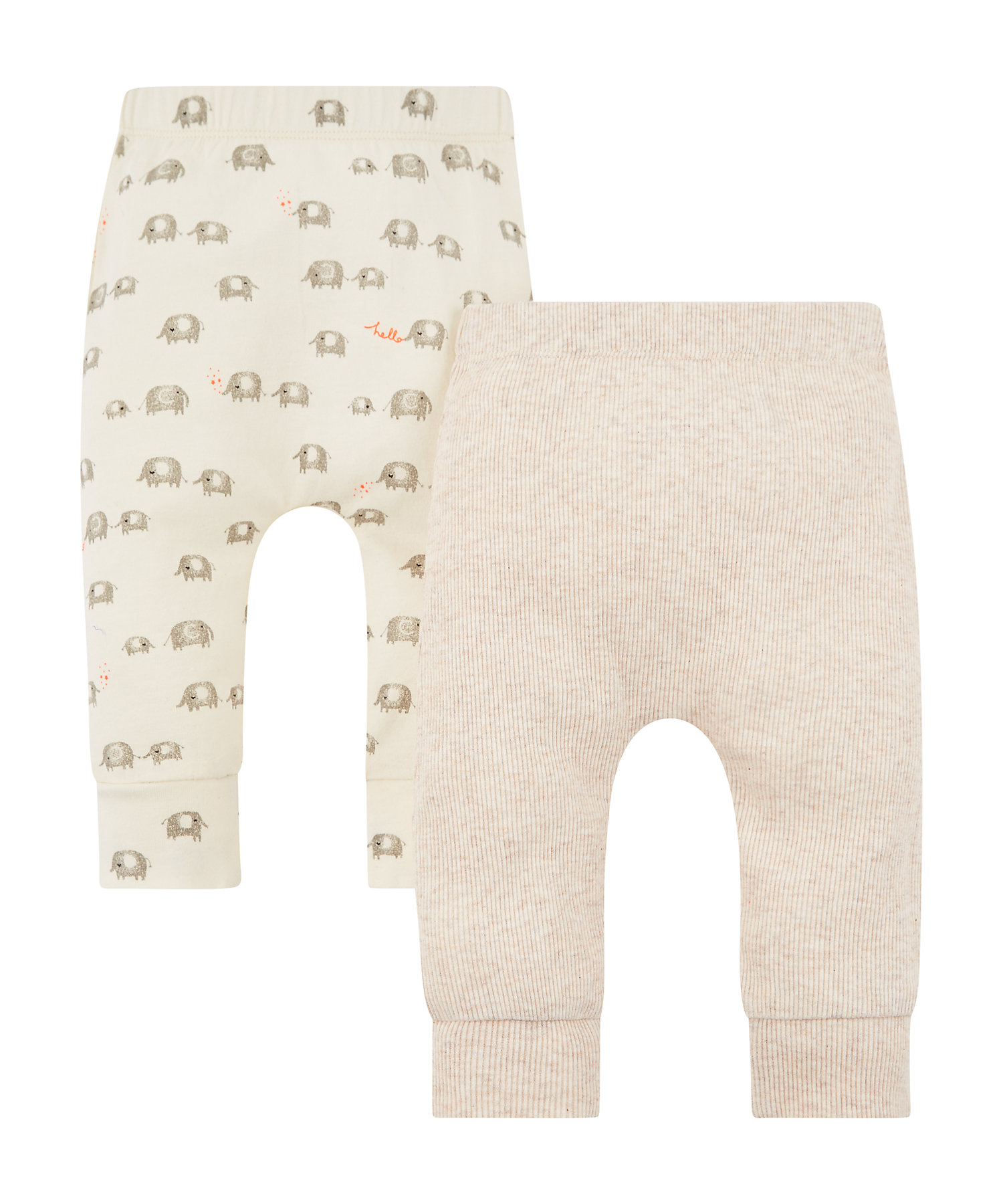 Mothercare | Hello Elephant And Plain Ribbed Leggings – 2 Pack