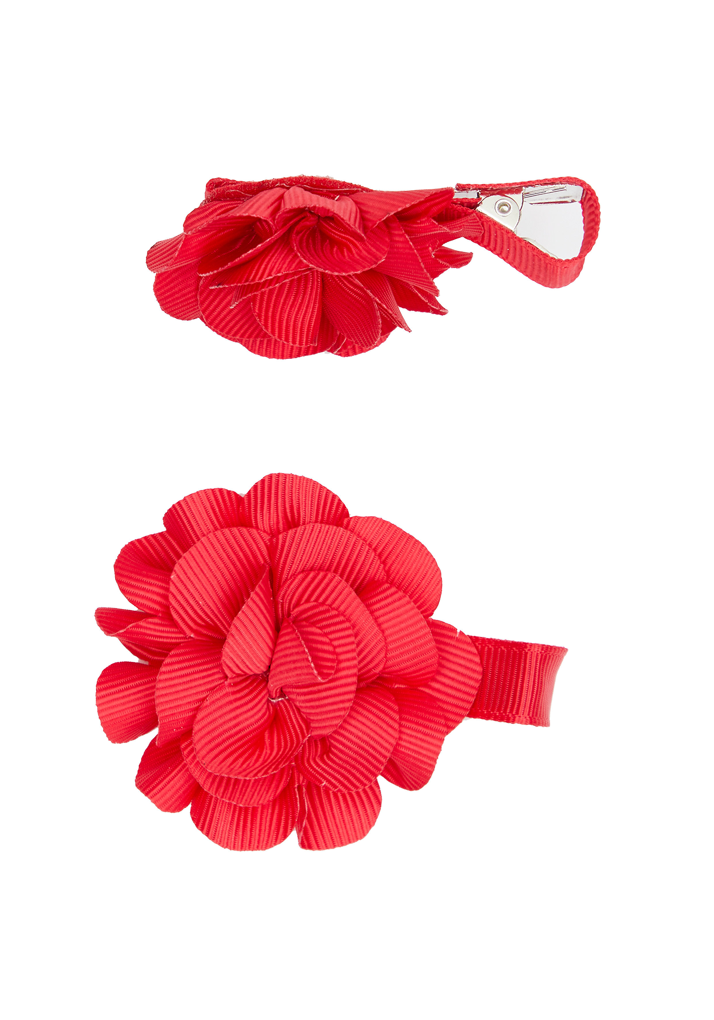 Mothercare   Girls Flower Hair Clips - Red