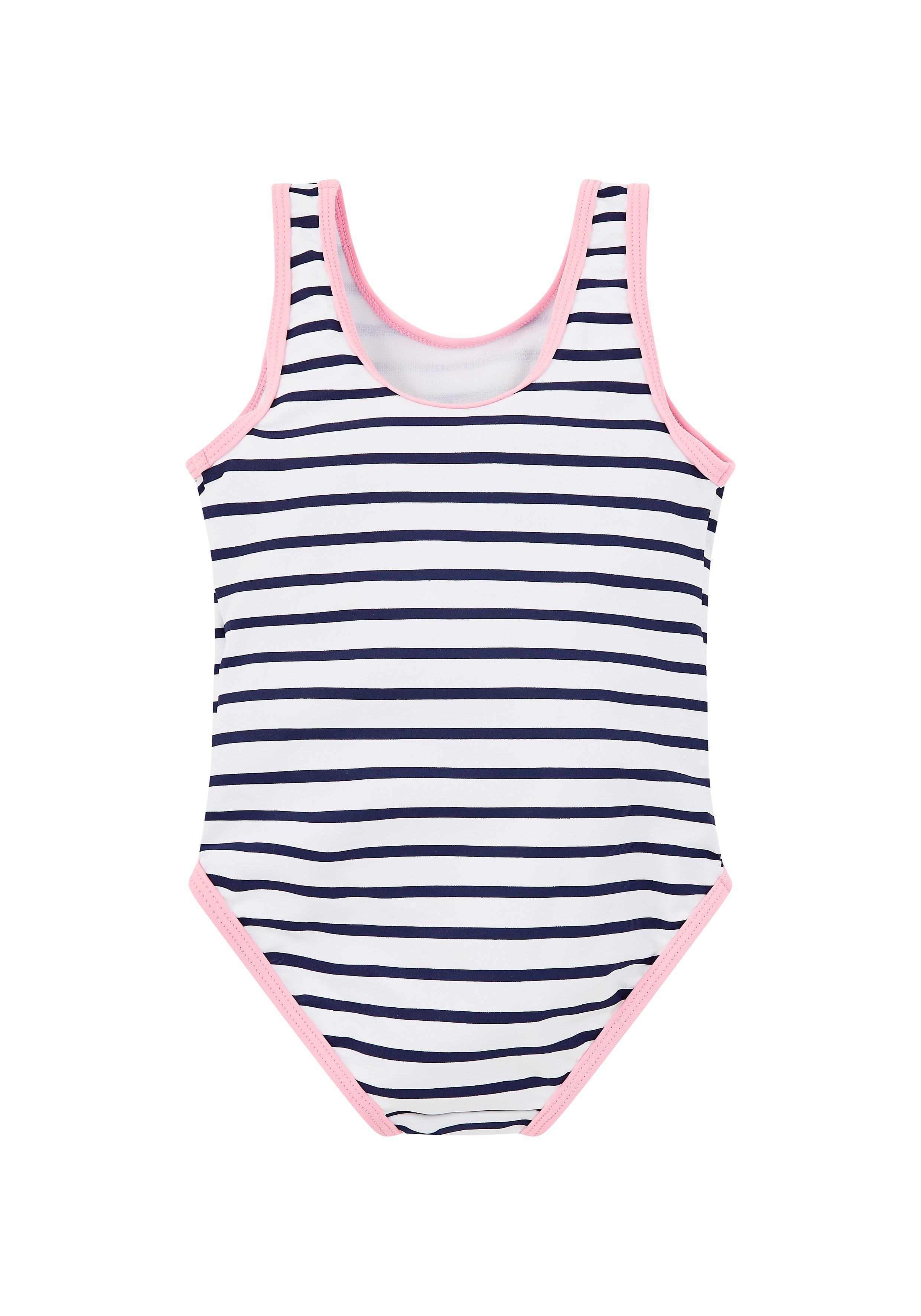 Mothercare | Girls Stripe Ice Cream Swimsuit - Blue & White