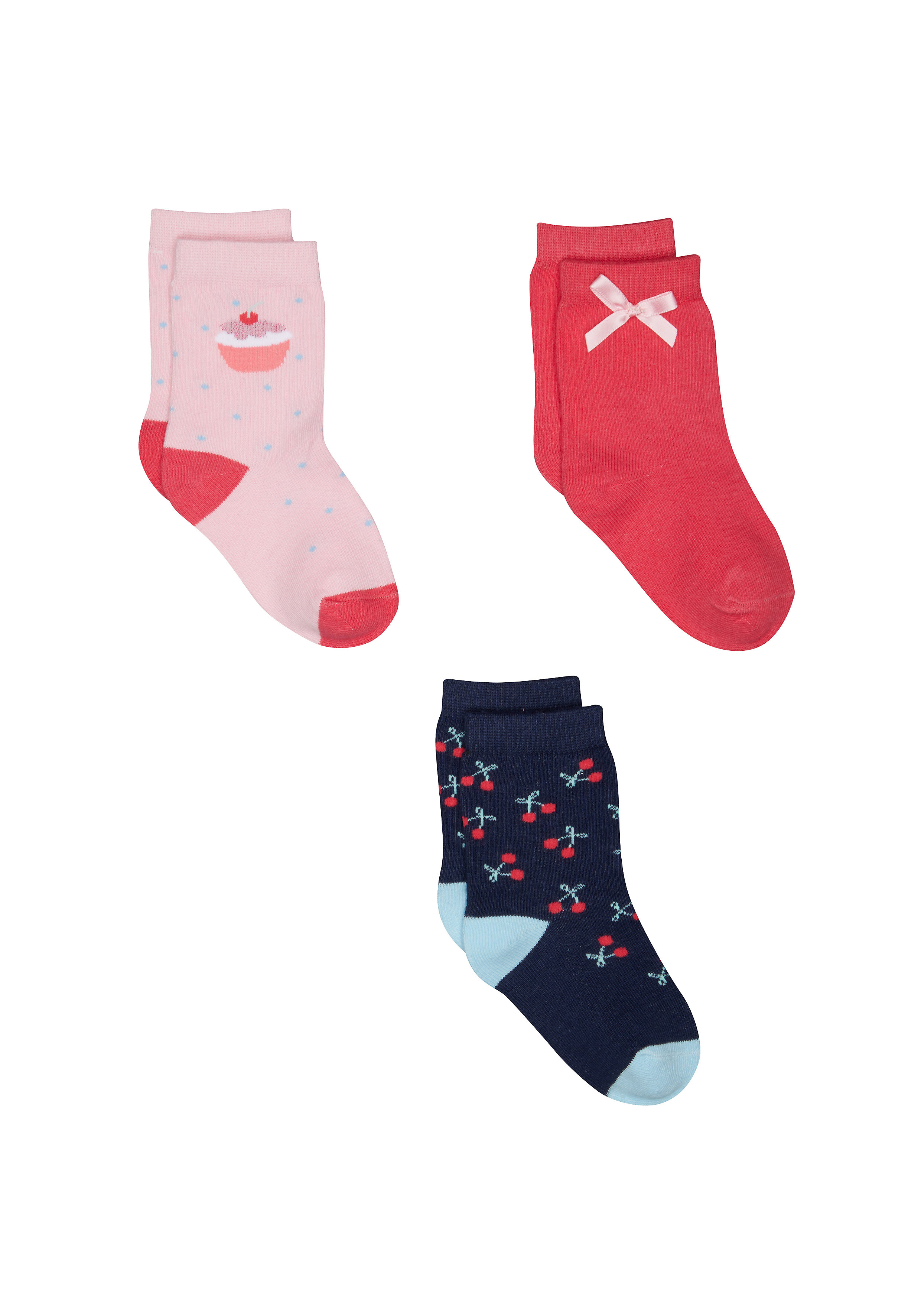 Mothercare | Girls Cupcake And Cherry Socks - 3 Pack - Multicolor