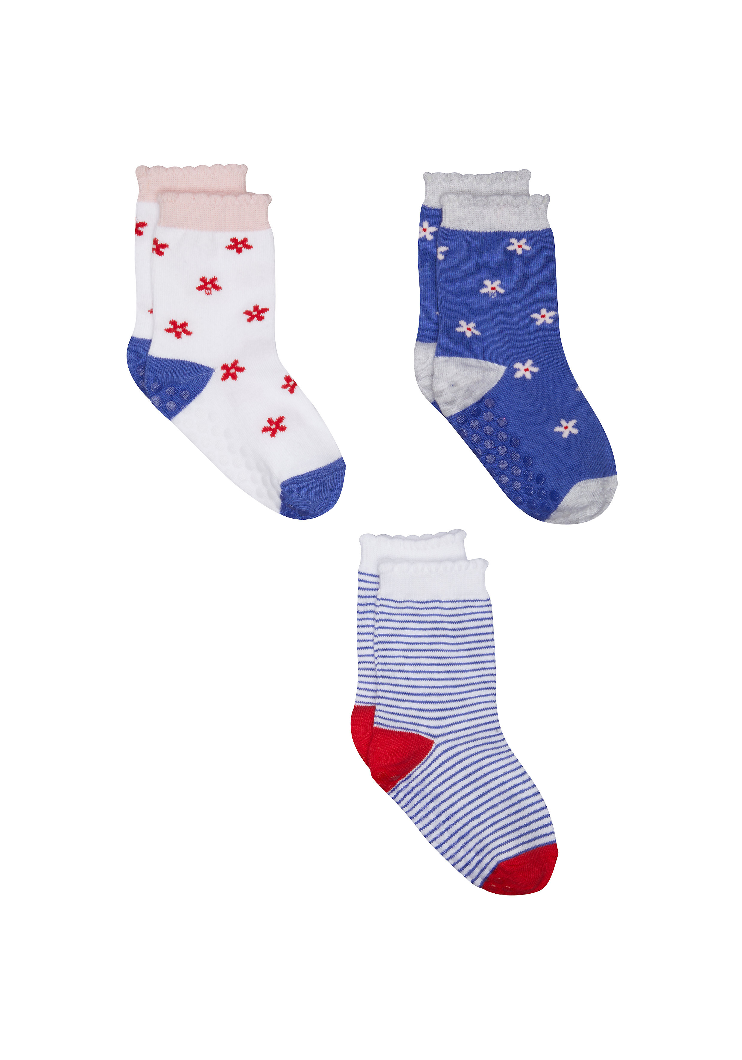 Mothercare | Girls Floral And Stripe Socks - 3 Pack - Multicolor