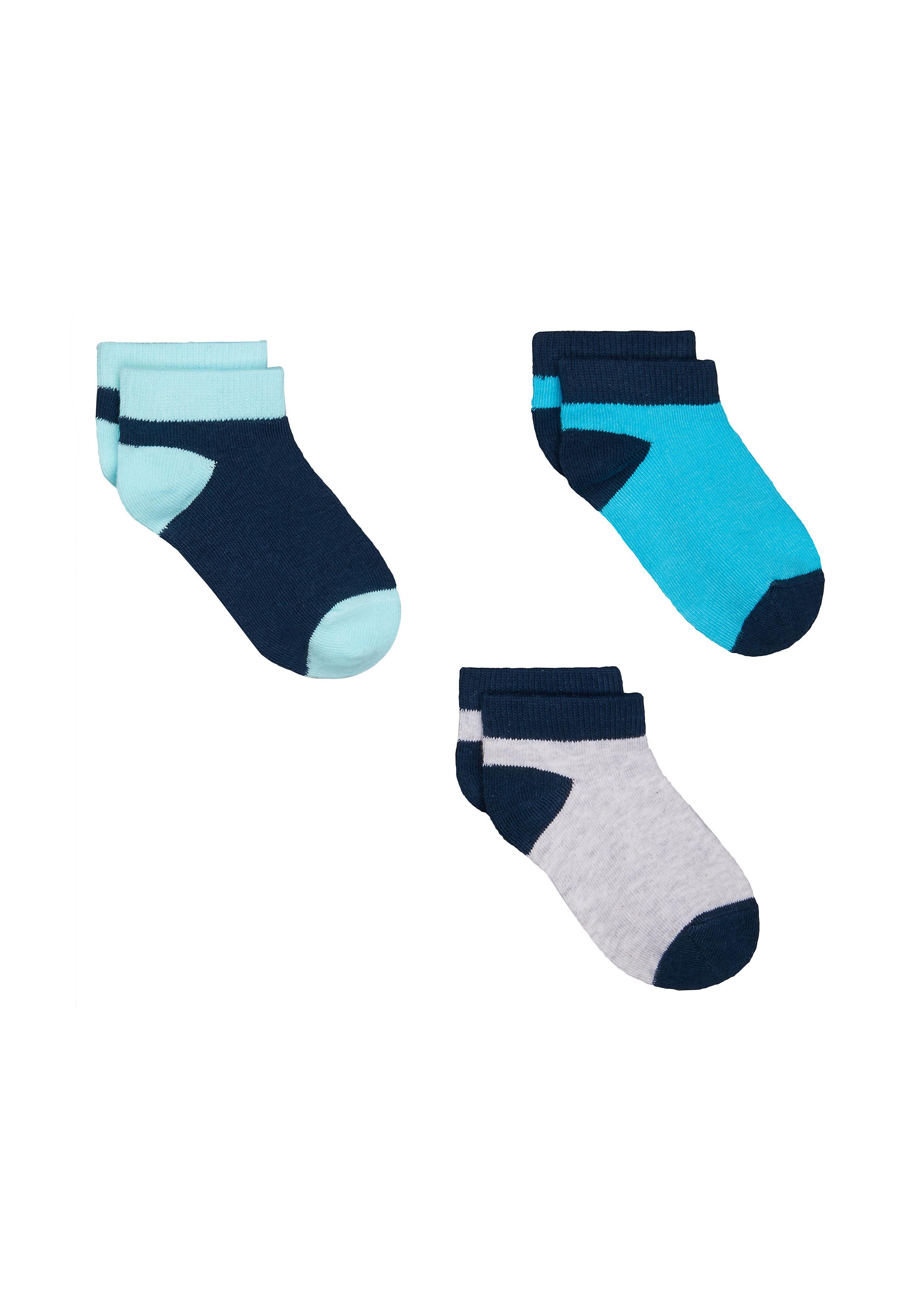 Mothercare | Boys Blue Trainer Socks - 3 Pack - Blue