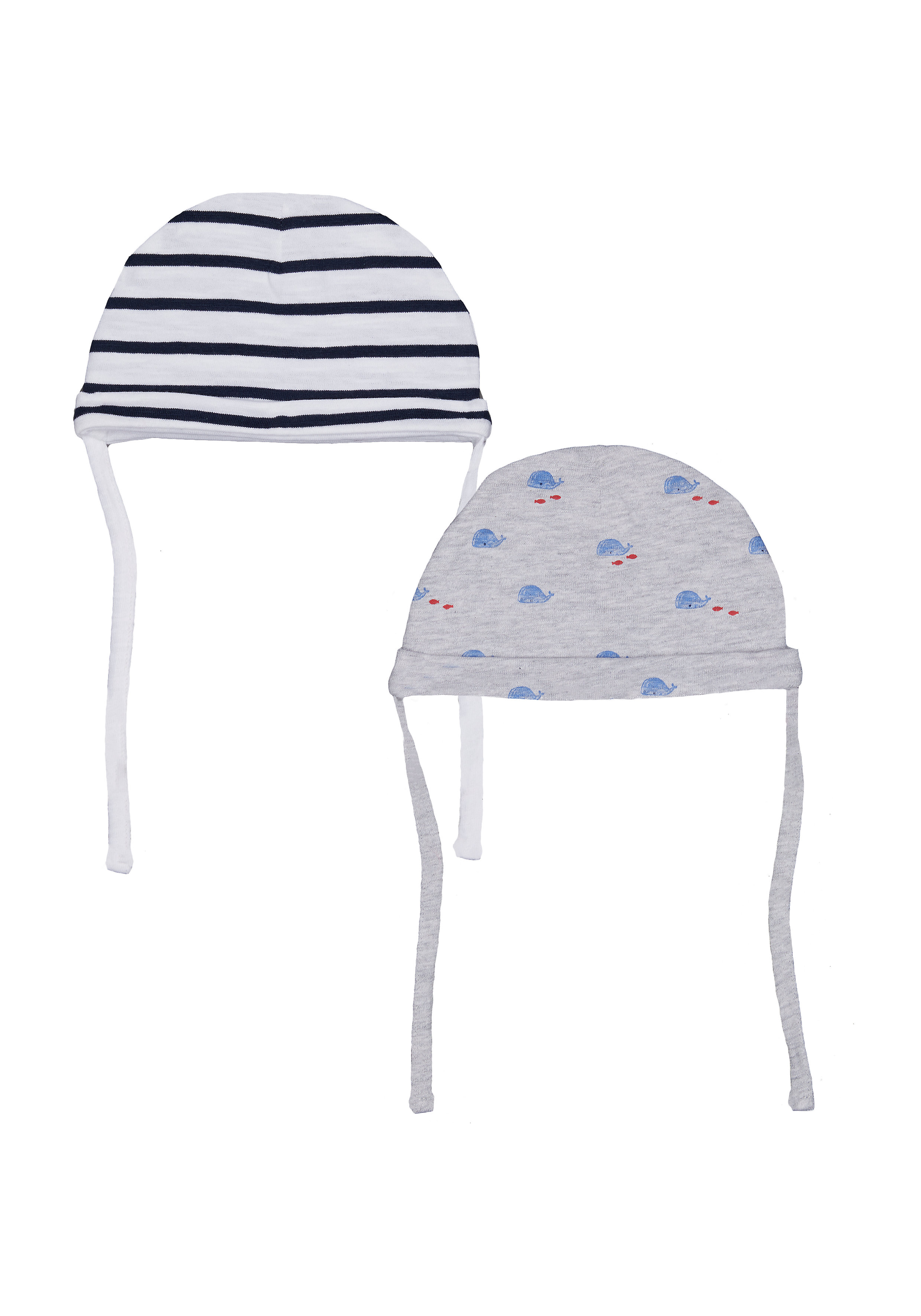 Mothercare | Boys Stripe And Whale Hats – 2 Pack - Grey