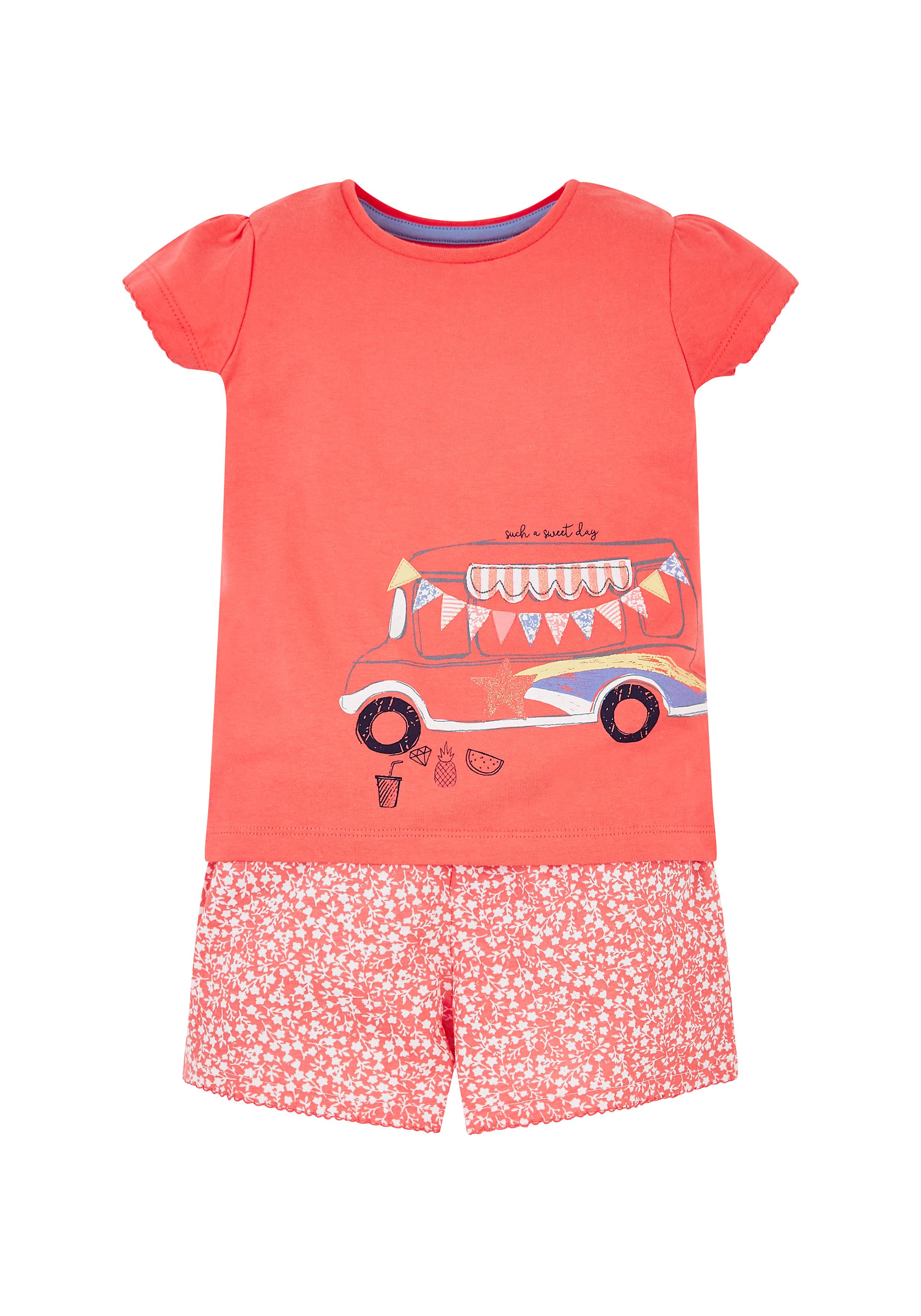 Mothercare | Girls Camper Van Shortie Pyjamas - Coral