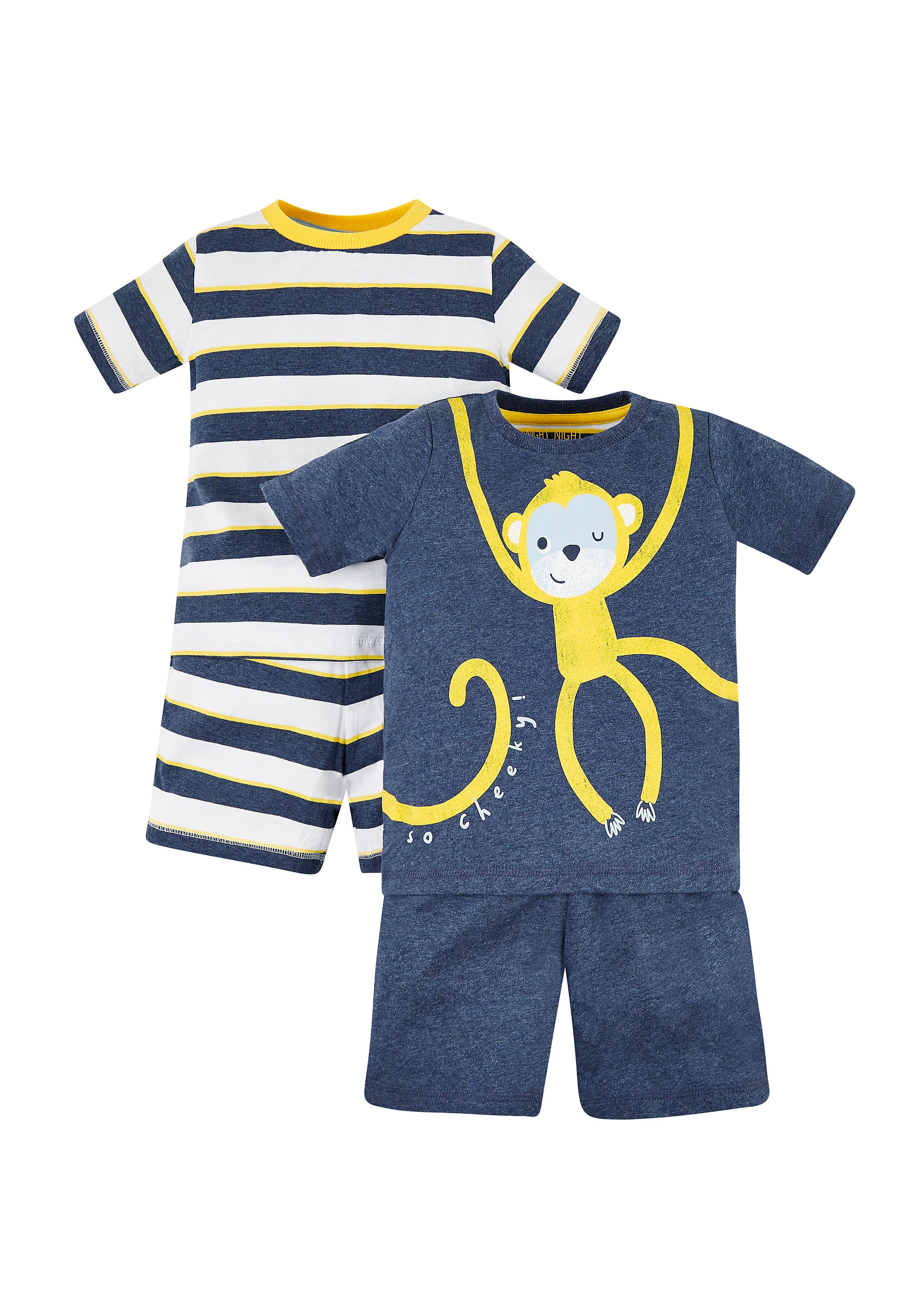 Mothercare | Boys Monkey And Stripe Pyjamas – 2 Pack - Blue