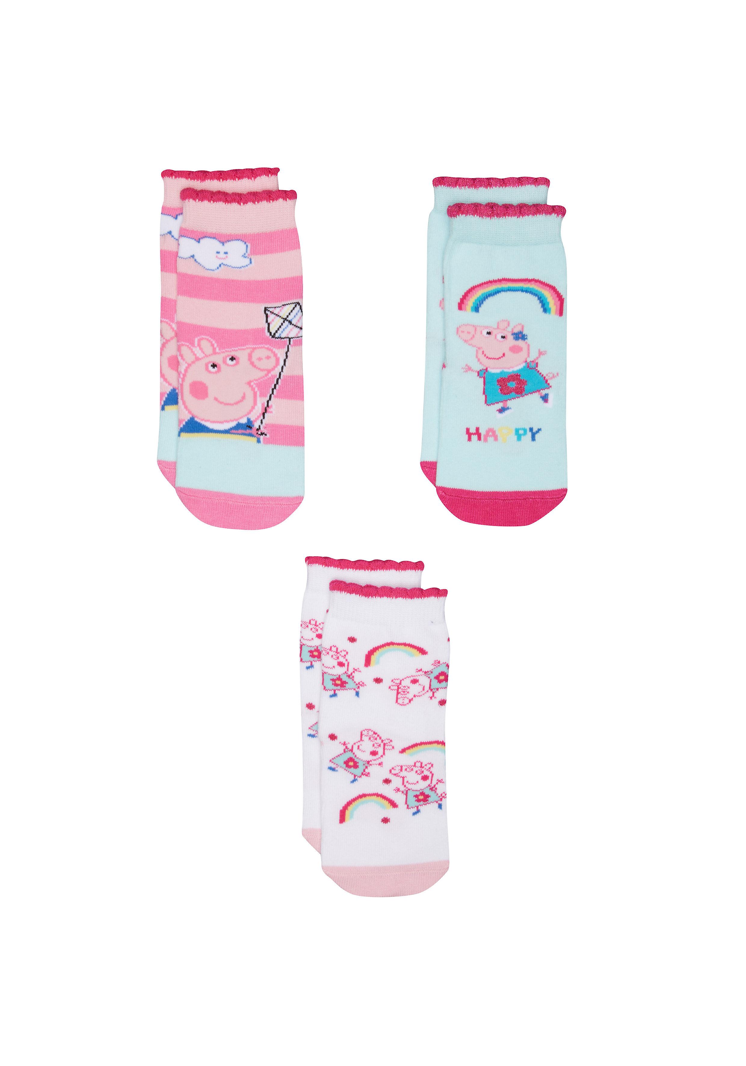 Mothercare   Girls Peppa Pig Socks - 3 Pack - Multicolor