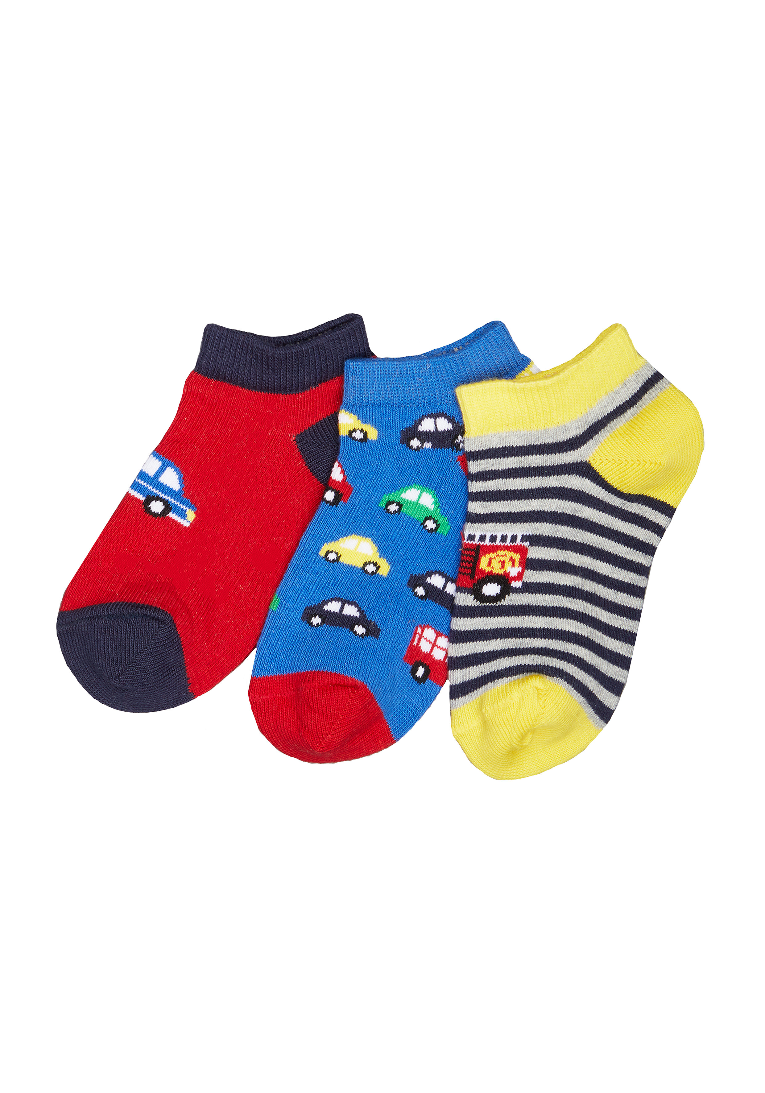 Mothercare   Boys Car Trainer Socks - 3 Pack - Multicolor