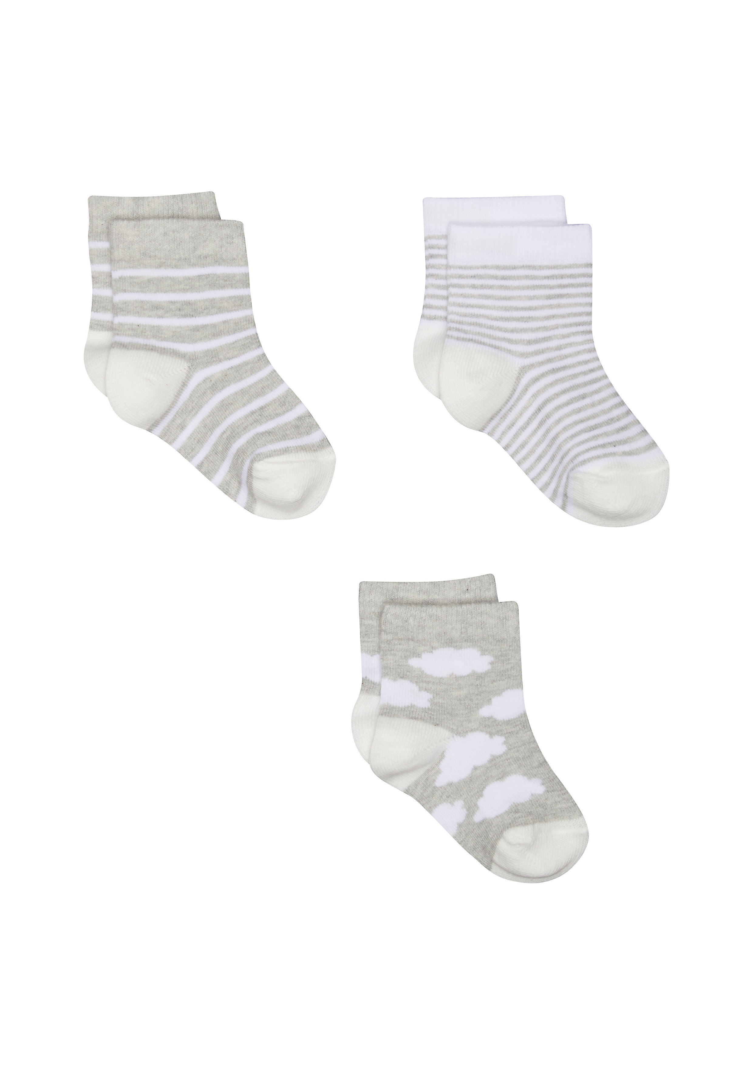 Mothercare | Boys Cloud And Stripe Socks - 3 Pack - Blue
