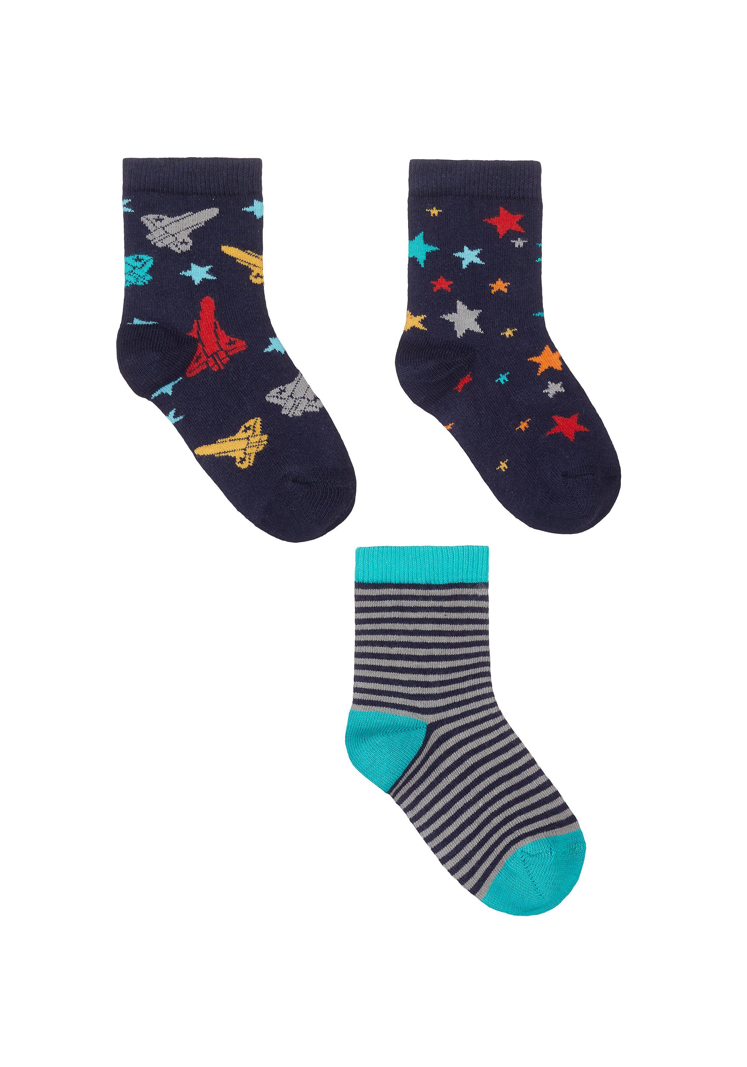 Mothercare | Boys Rocket Socks - 3 Pack - Blue