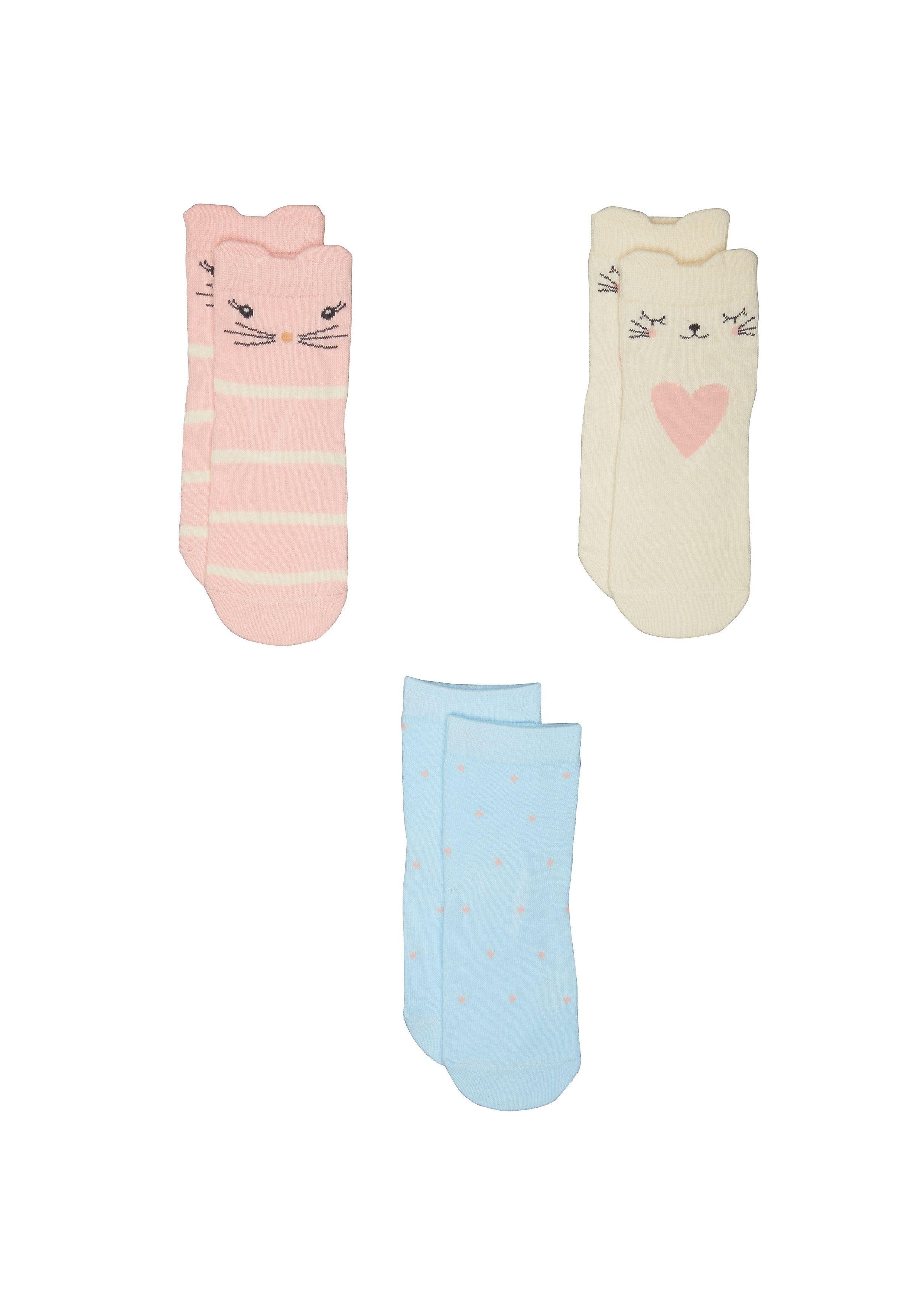 Mothercare | Girls Novelty Cat Socks - 3 Pack - Multicolor