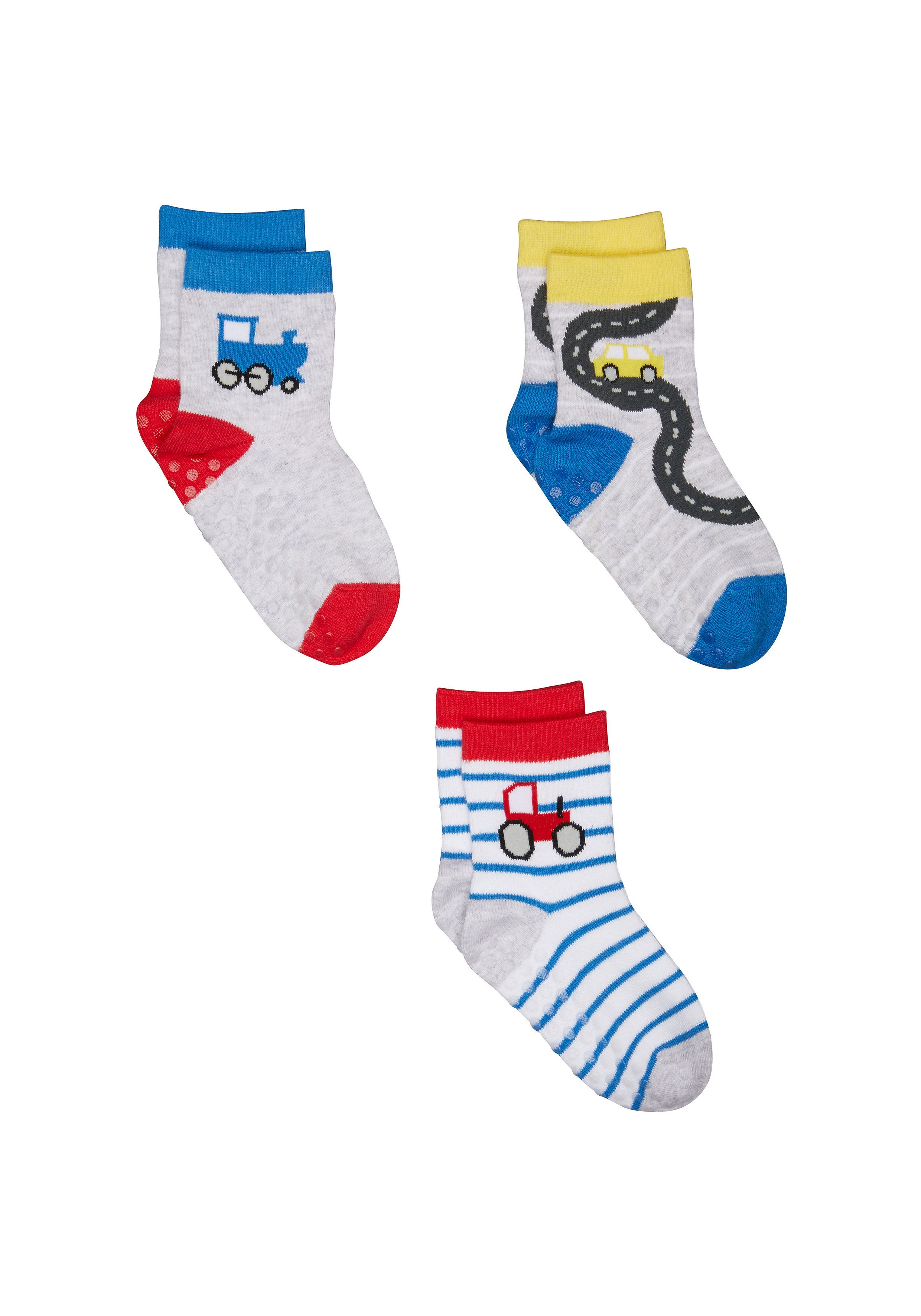 Mothercare | Boys Trains And Tractors Socks - 3 Pack - Multicolor