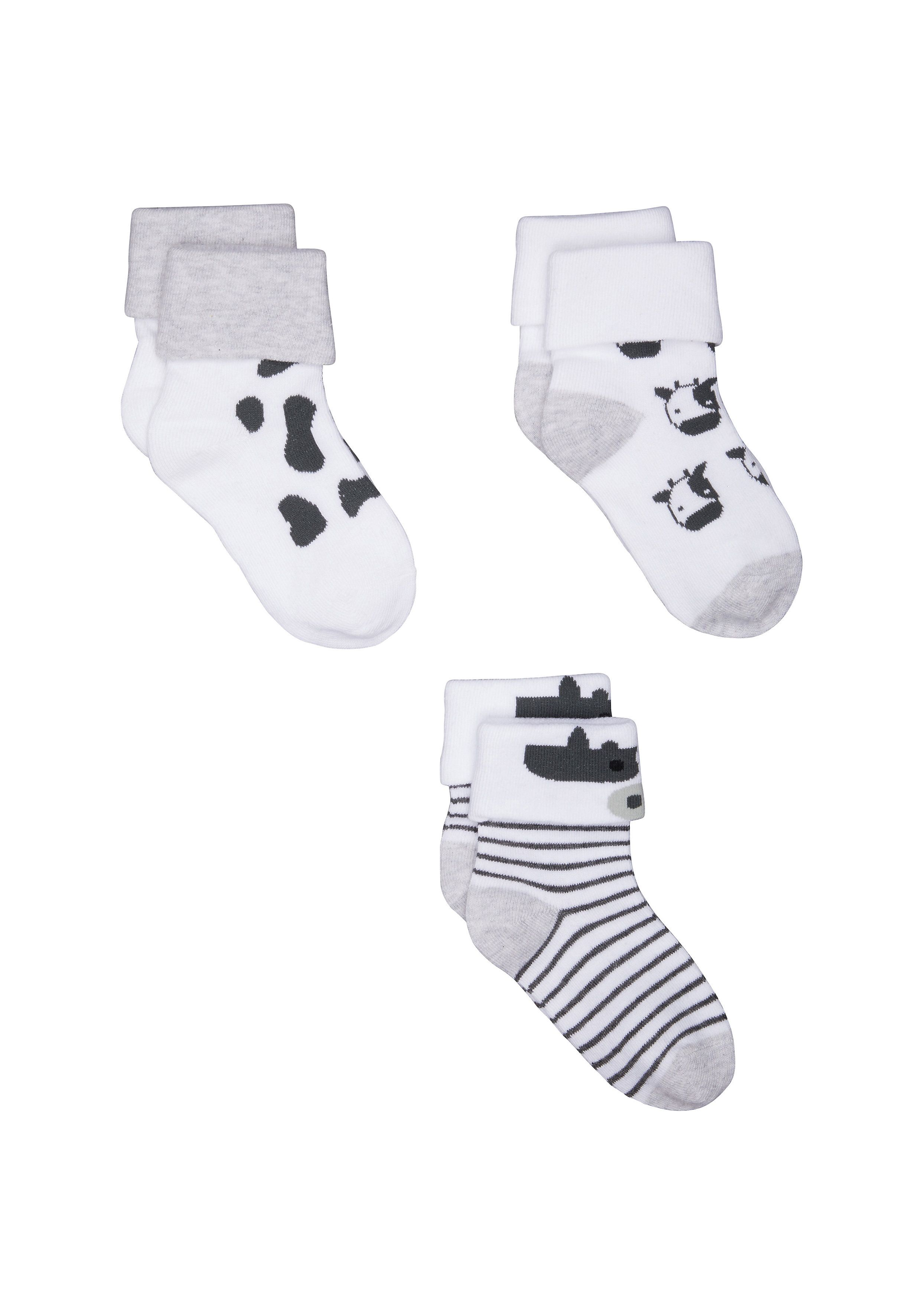 Mothercare | Unisex Cow Turn - Over - Top Socks - 3 Pack - Multicolor