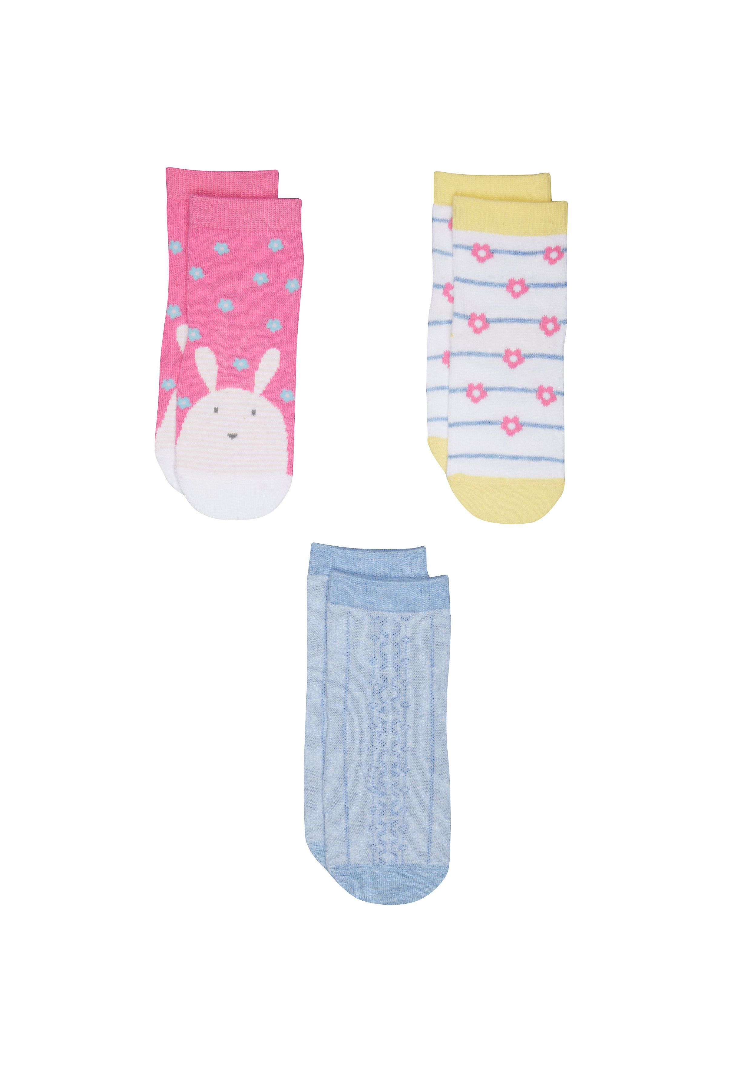 Mothercare | Girls Bunny And Flower Socks - 3 Pack - Multicolor