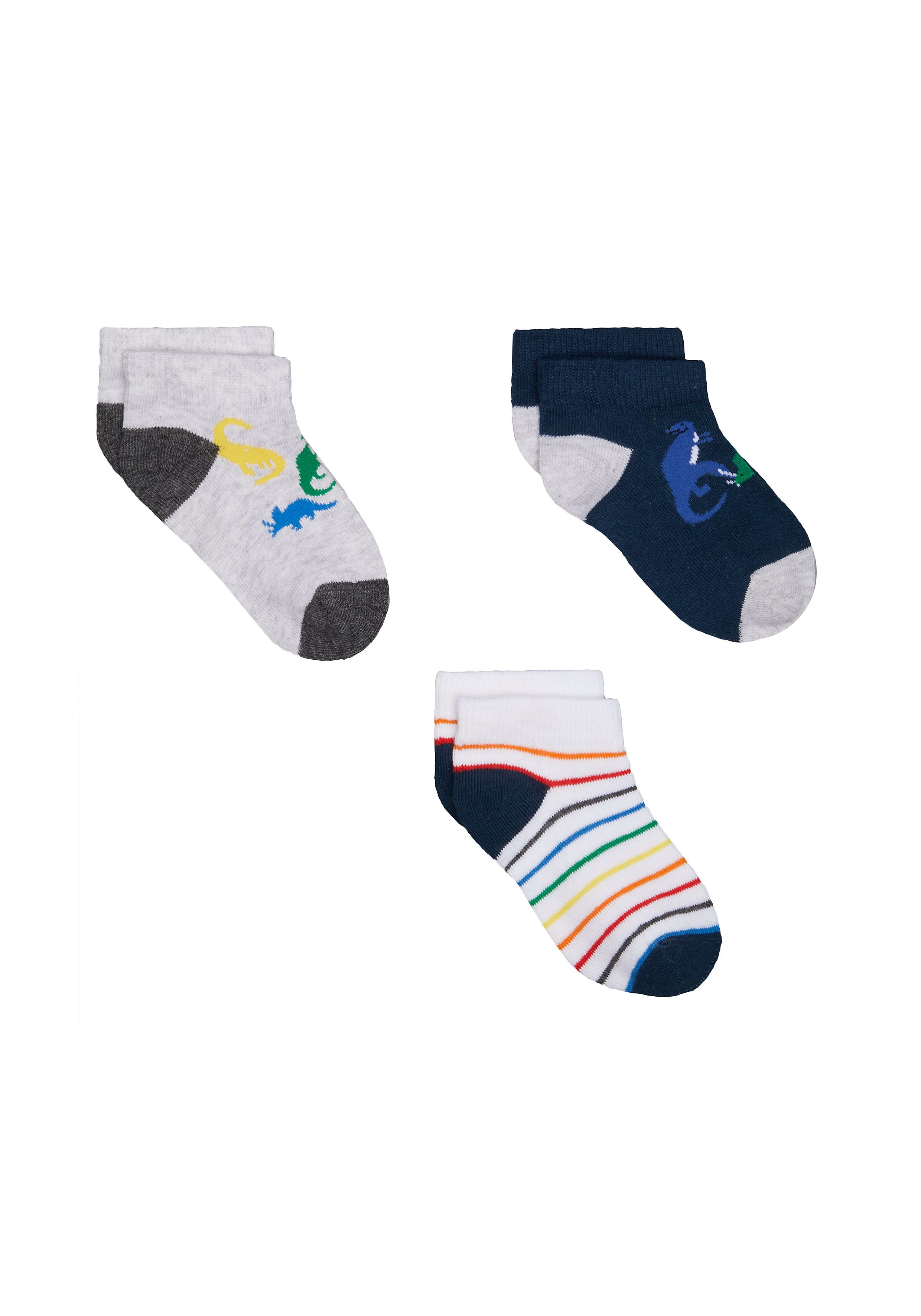 Mothercare | Boys Dinosaur Trainer Socks - 3 Pack - Multicolor