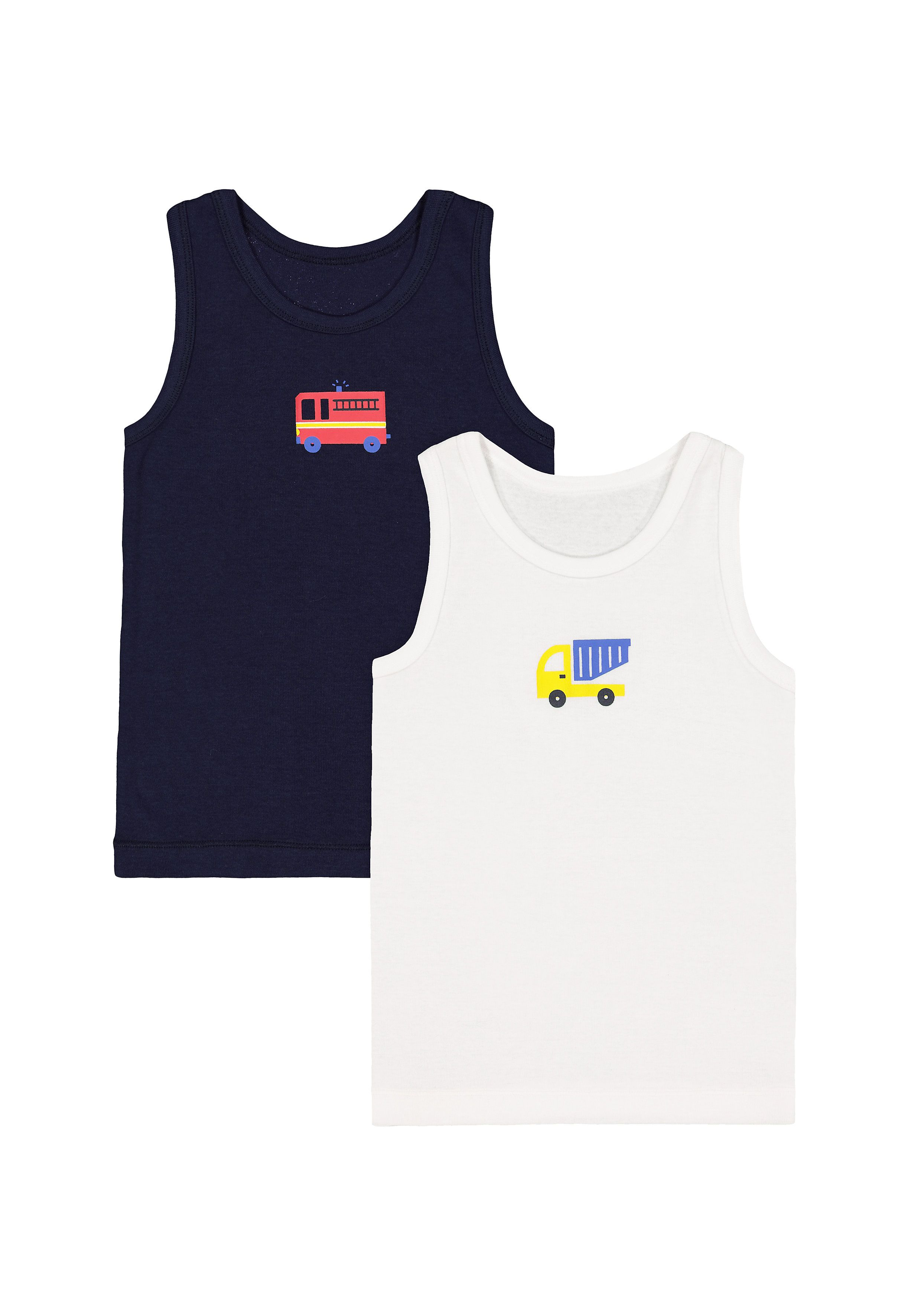 Mothercare | Boys Vehicle Vests - 2 Pack - Multicolor