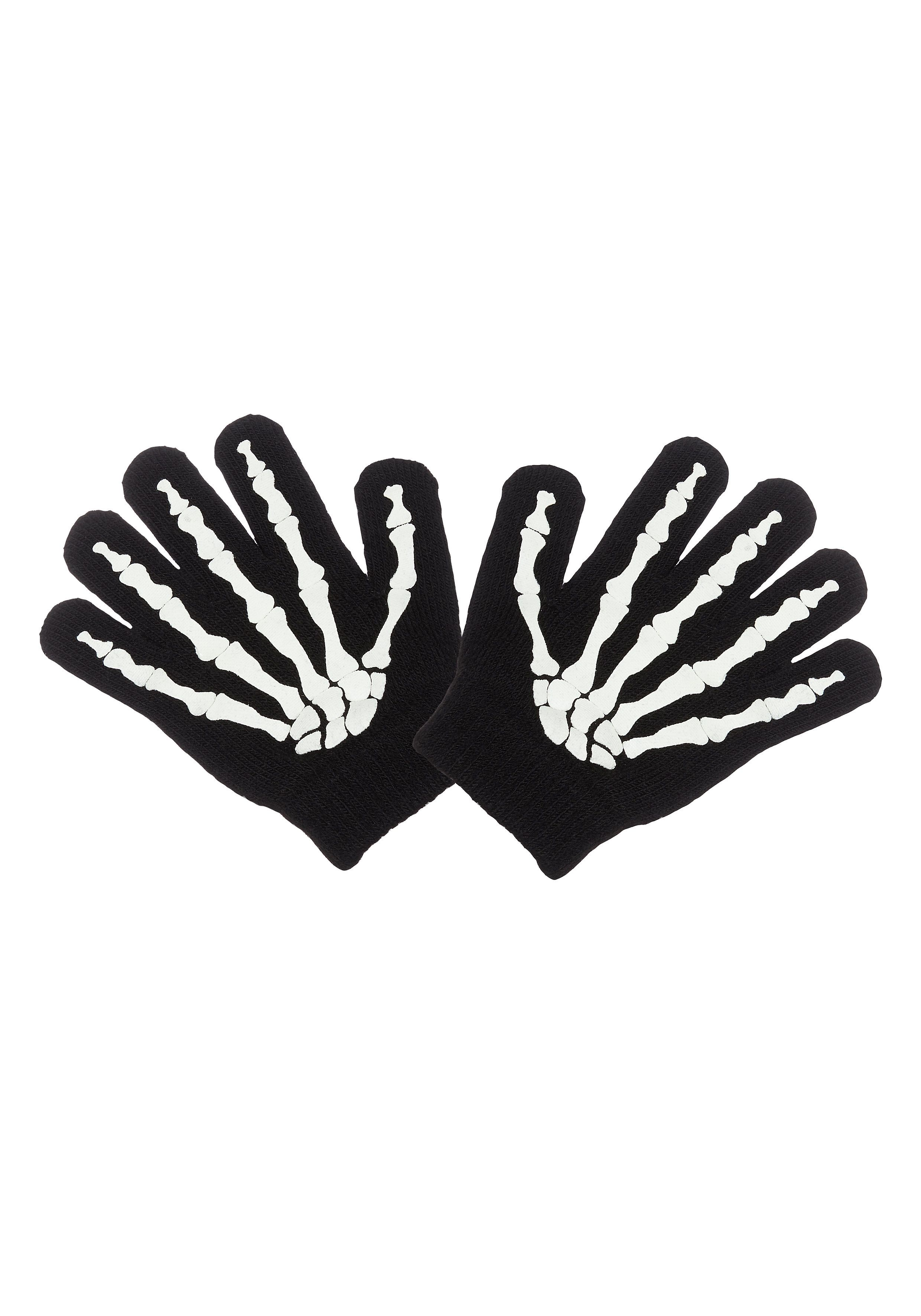 Mothercare   Boys Black Skeleton Magic Gloves - Black