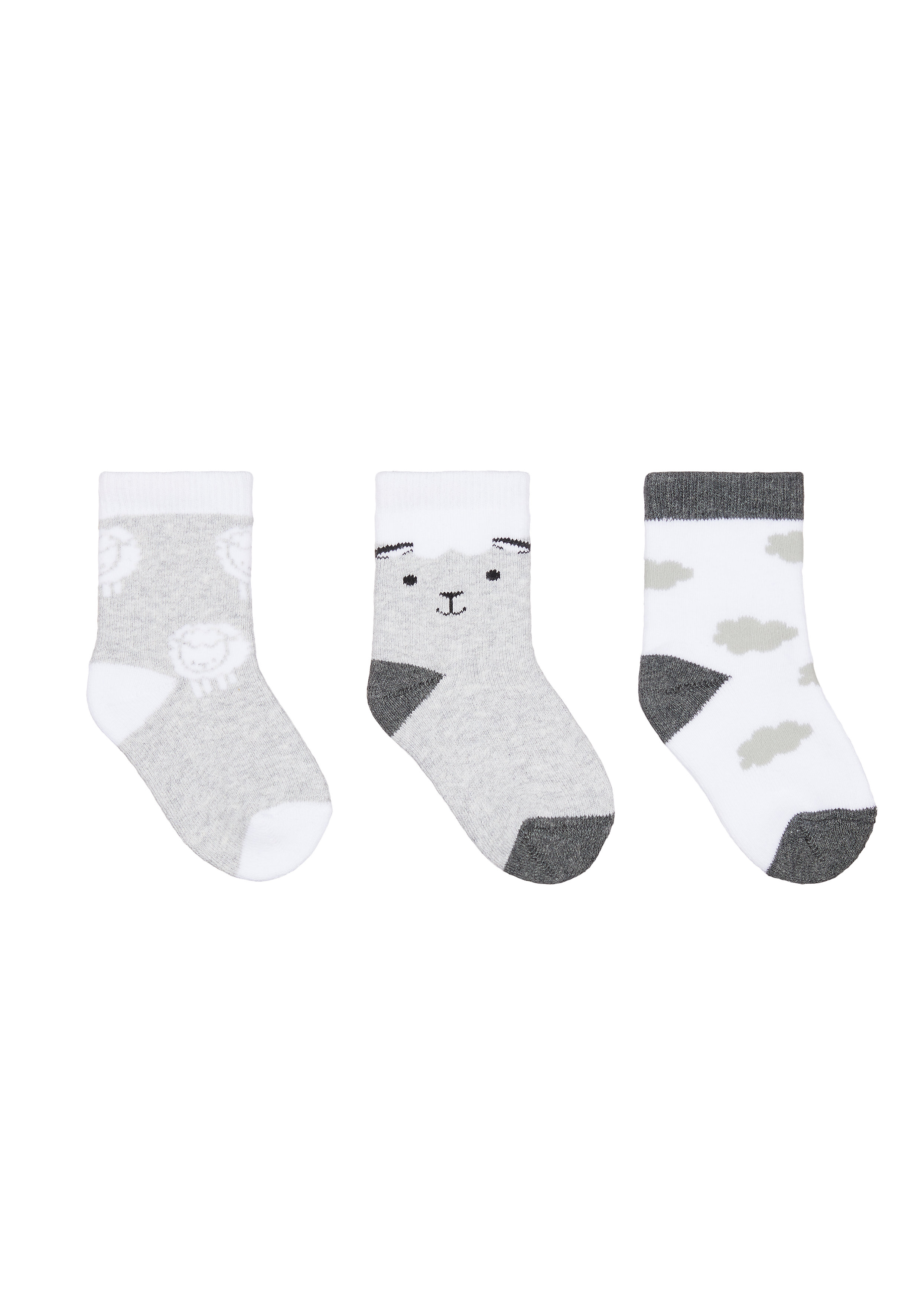 Mothercare | Boys Sheep Socks - 3 Pack - Grey
