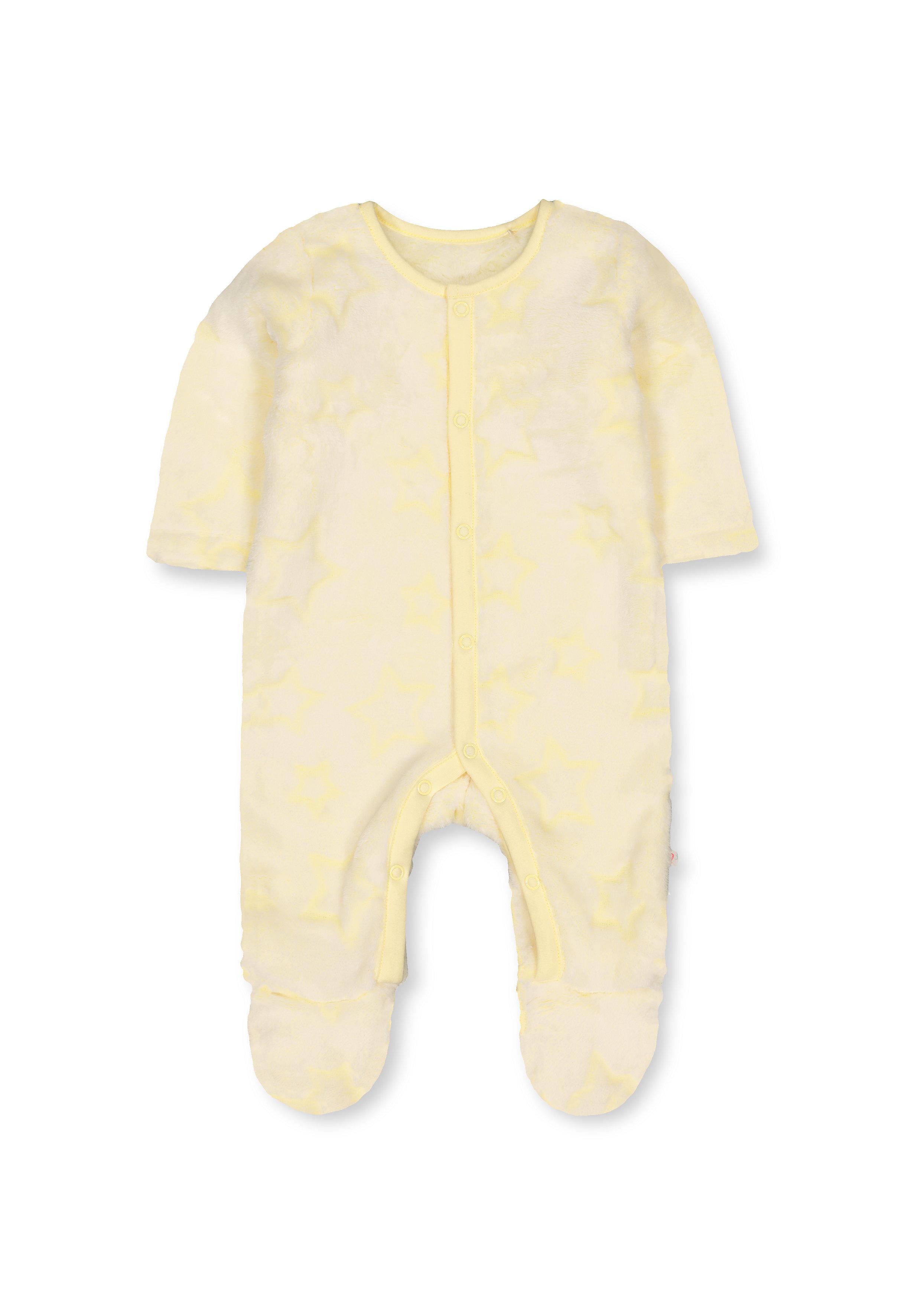 Mothercare   Girls Full Sleeves Fluffy Sleepsuit Star Design - Yellow