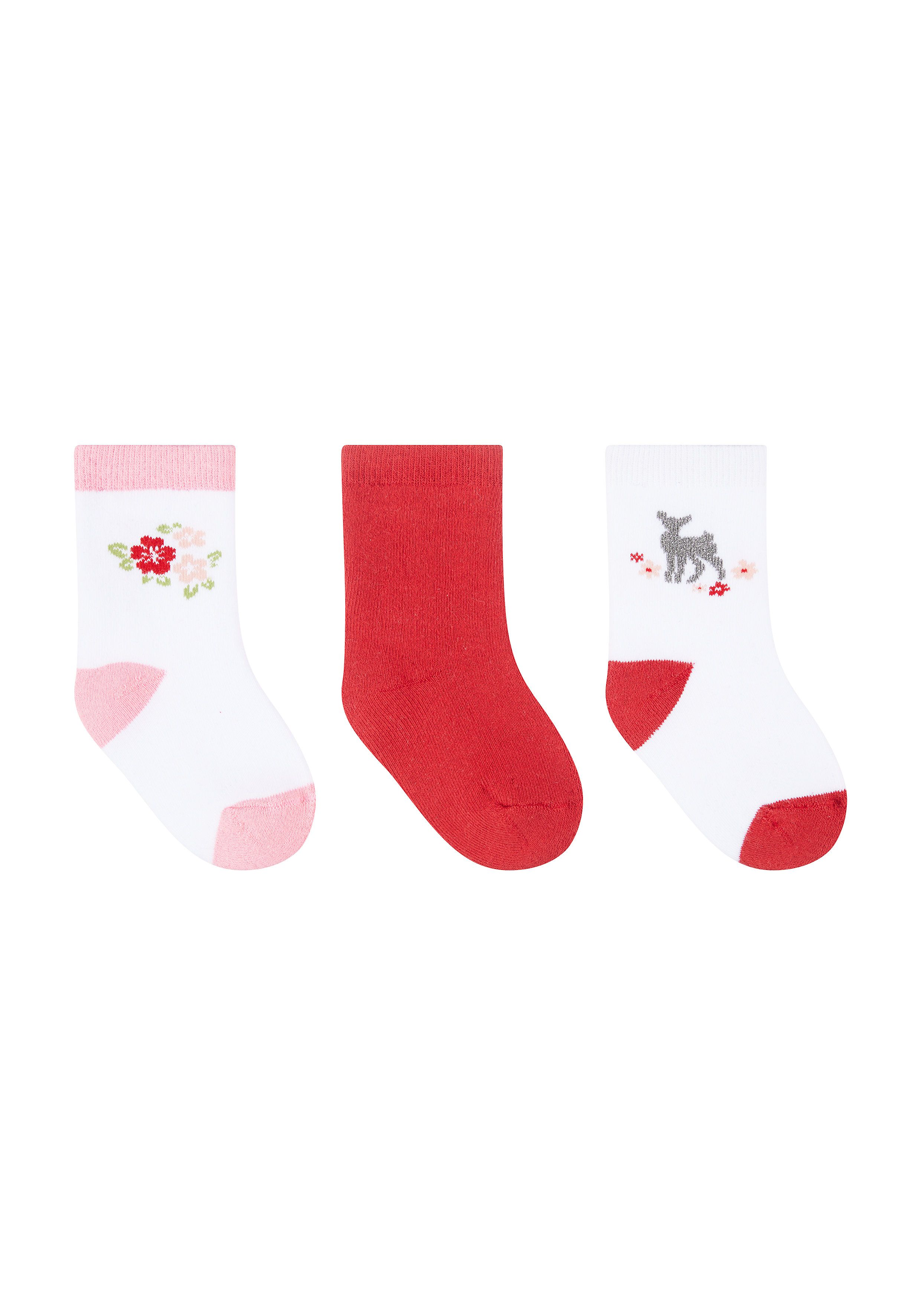 Mothercare | Girls Floral Terry Baby Socks - 3 Pack - Red