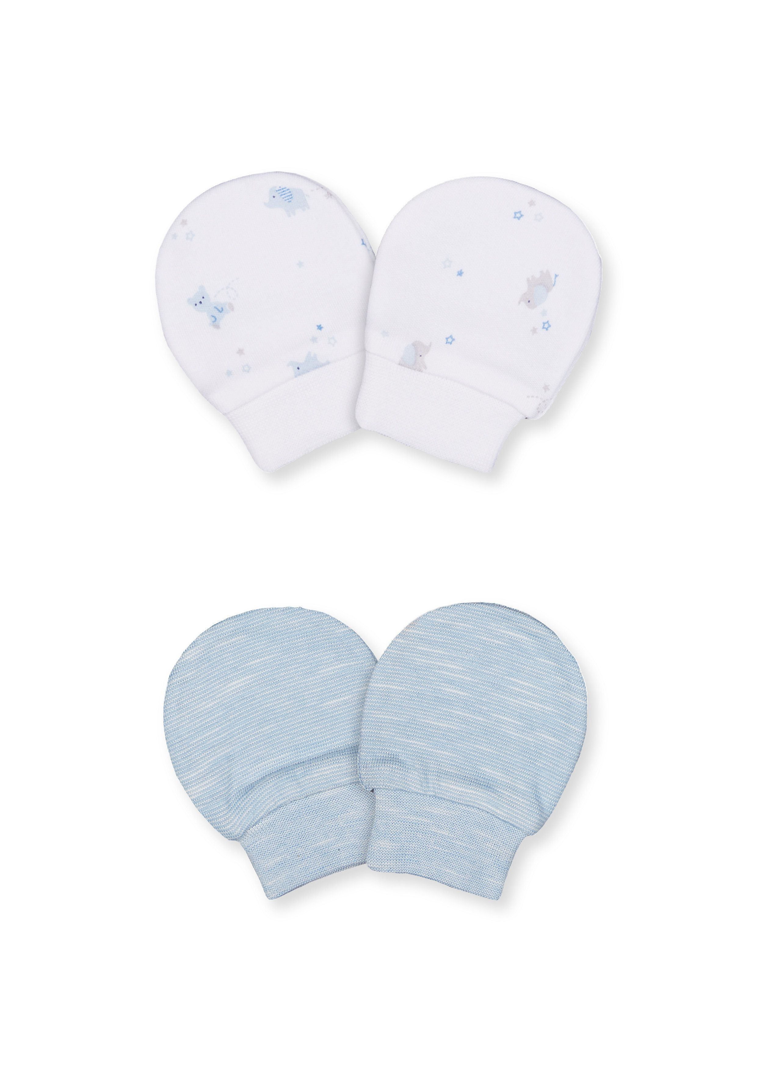 Mothercare   Boys My First Bear And Stripe Scratch Mitts – 2 Pack - Blue