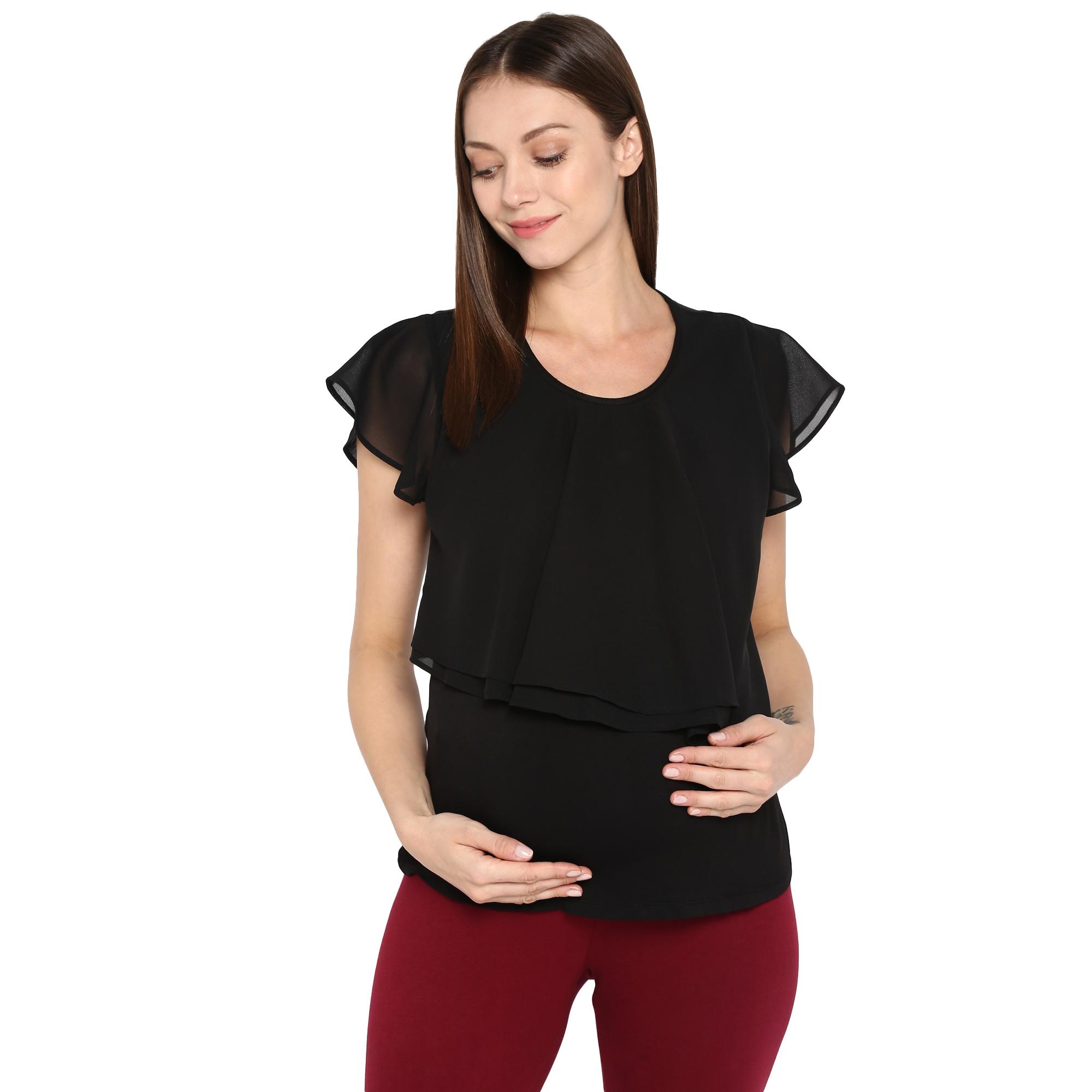 Mothercare   Women Maternity Half Sleeves Top - Black