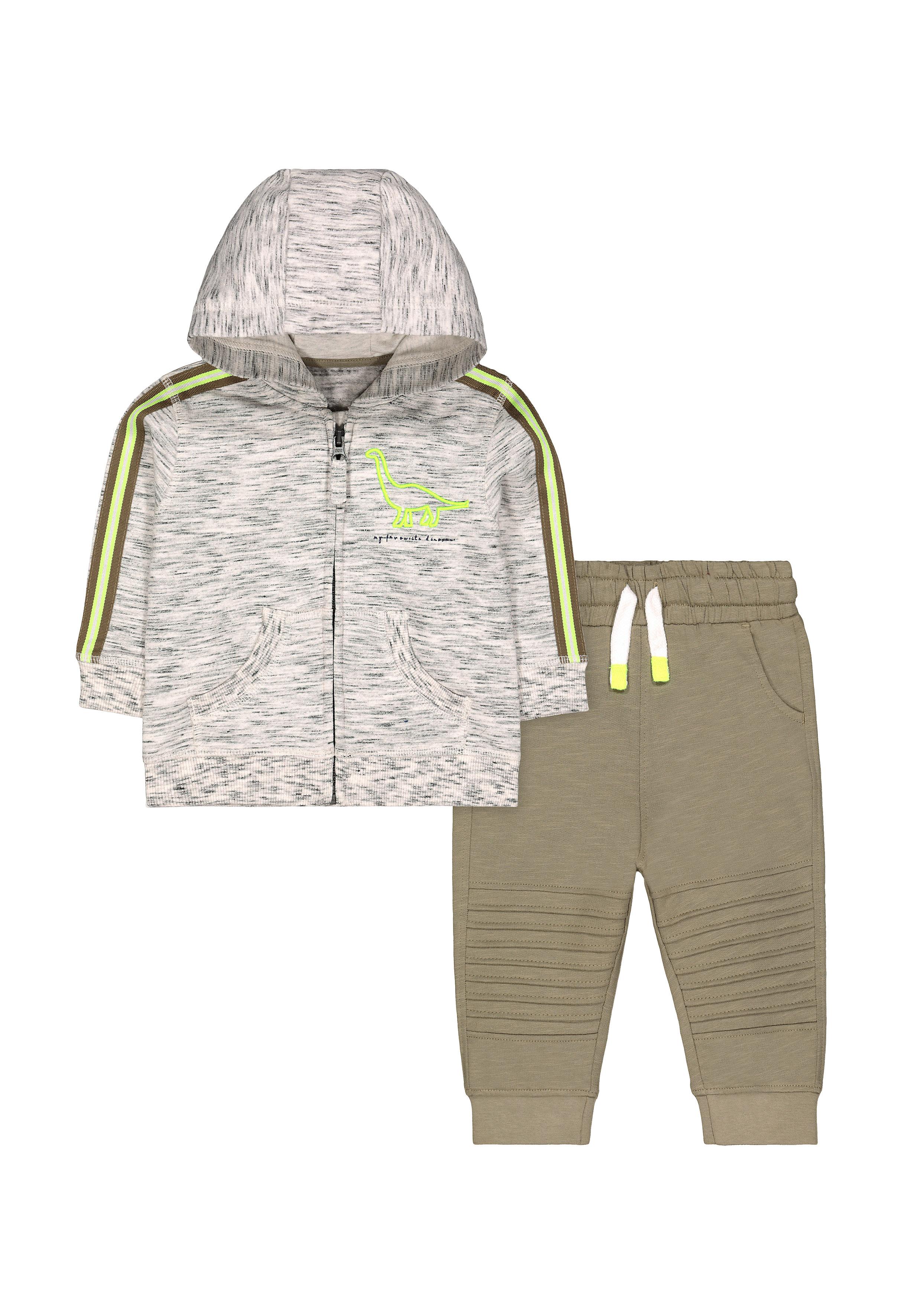Mothercare | Boys Dinosaur Zip - Through Hoodie And Khaki Joggers Set - Multicolor