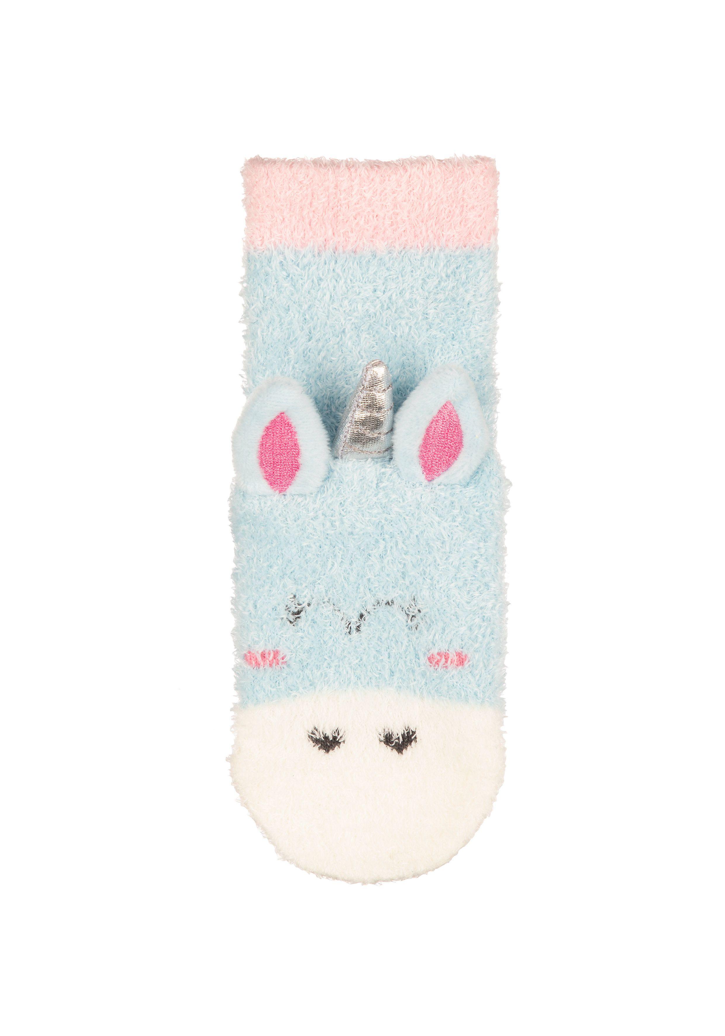 Mothercare | Girls Fluffy Unicorn Socks - Turquoise
