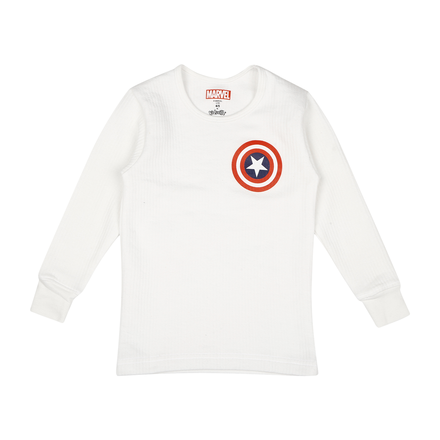 Mothercare | Boys Captain America Full Sleeves Thermal Top - White