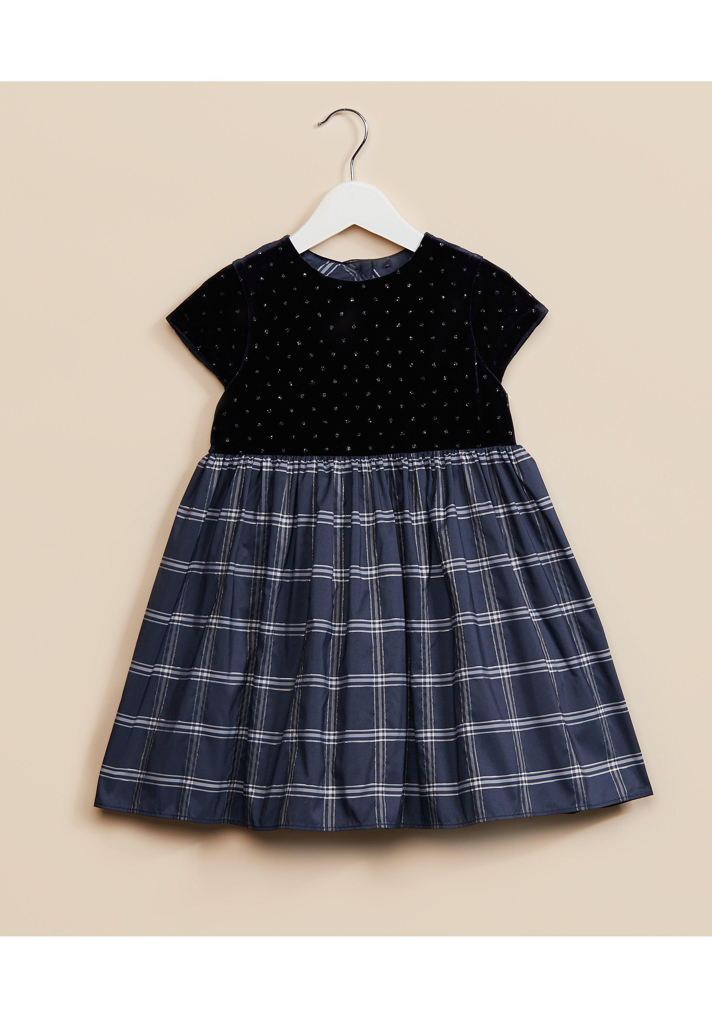 Mothercare | Girls Navy Velour Check Dress - Navy
