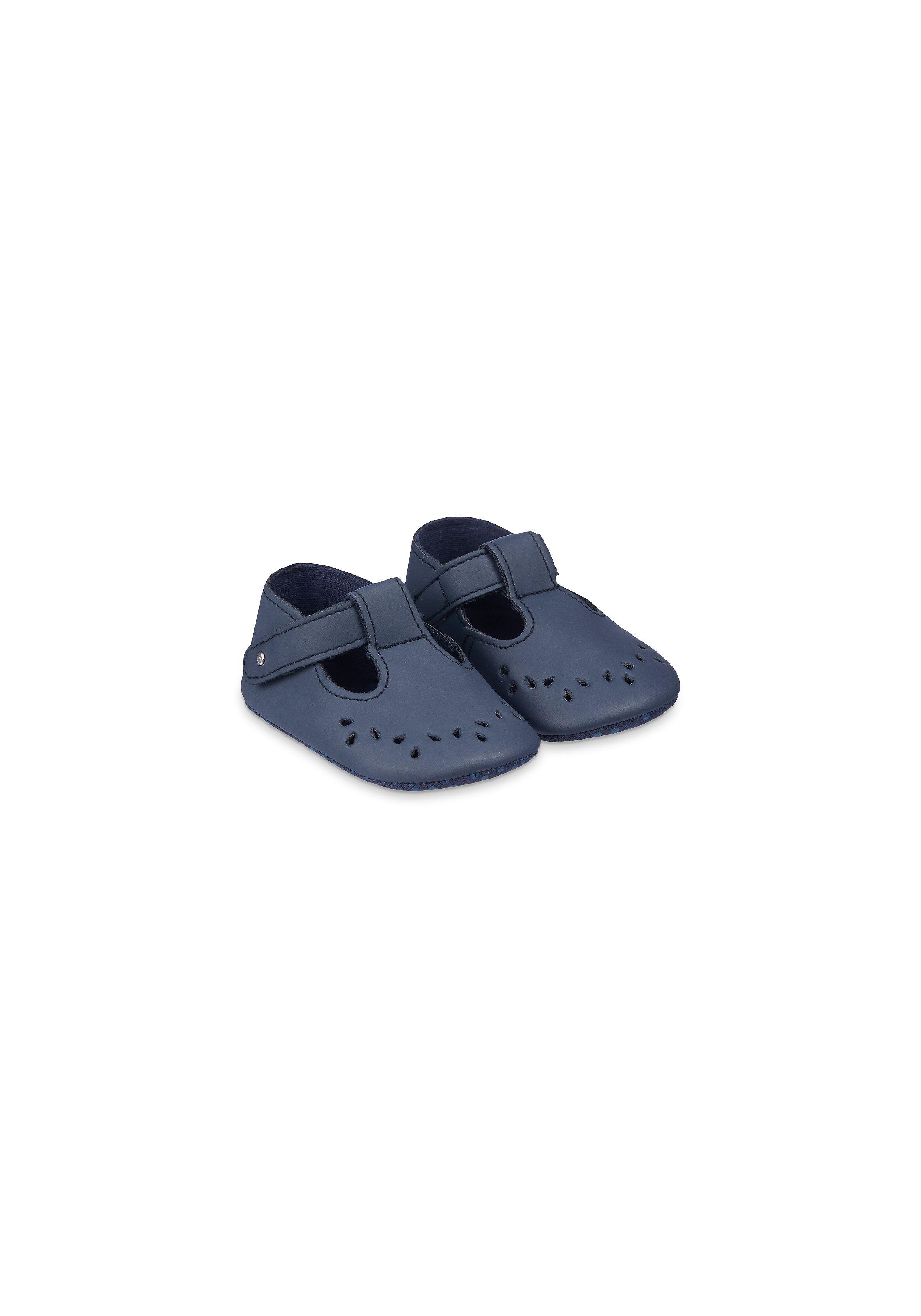 Mothercare | Navy Cut-Work T-Bar Baby Pram Shoes