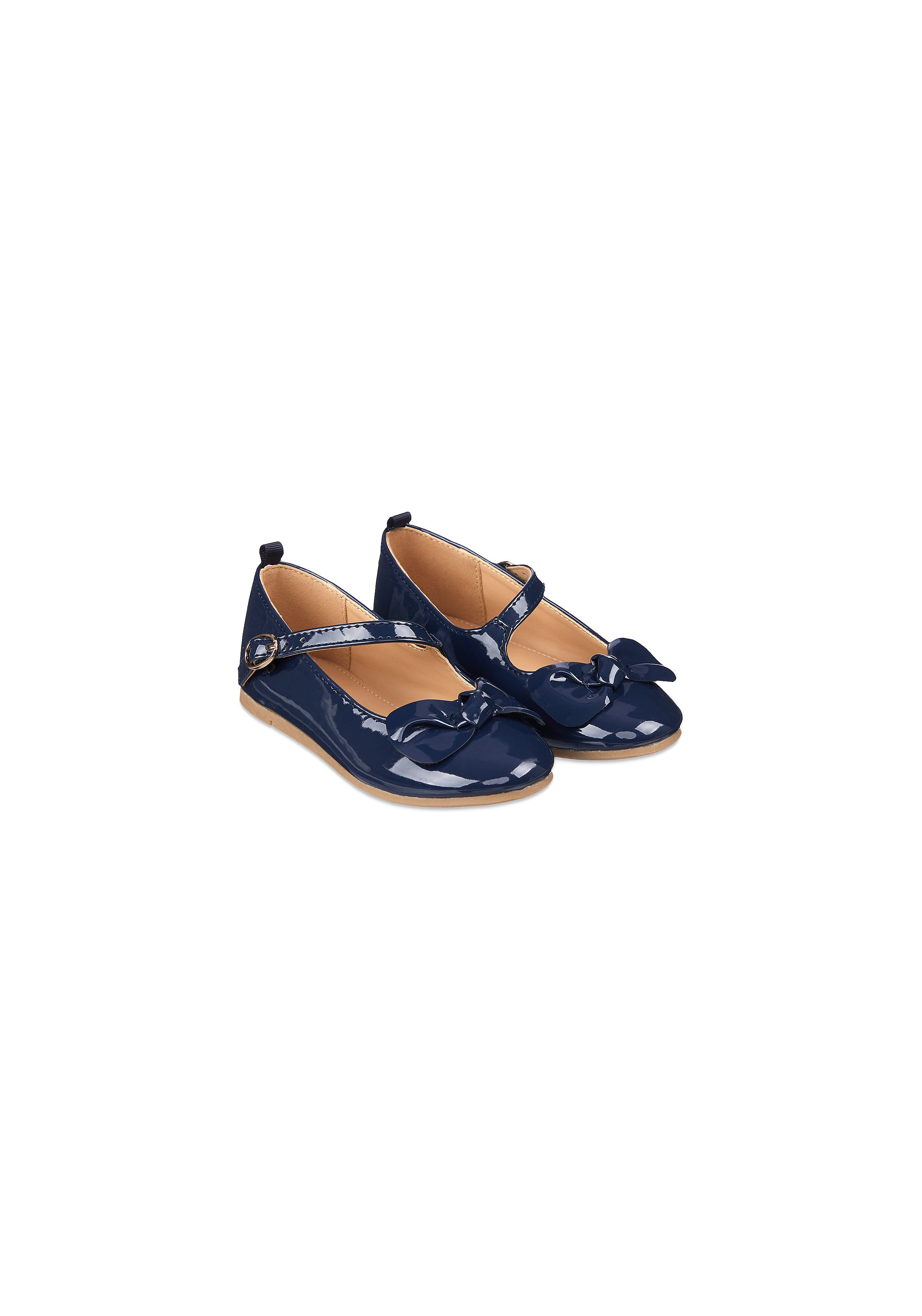 Mothercare | Girls Navy Patent Ballerina Shoes - Navy