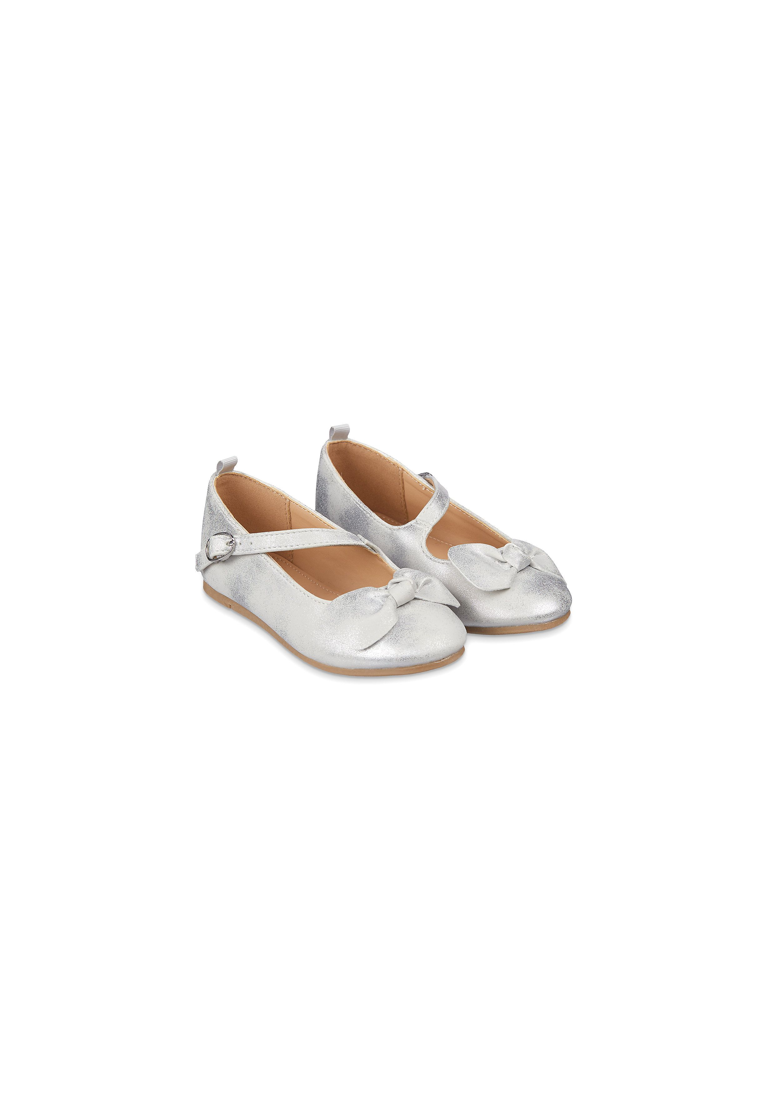 Mothercare | Girls Shimmery Silver Bow Ballerina Shoes - Silver