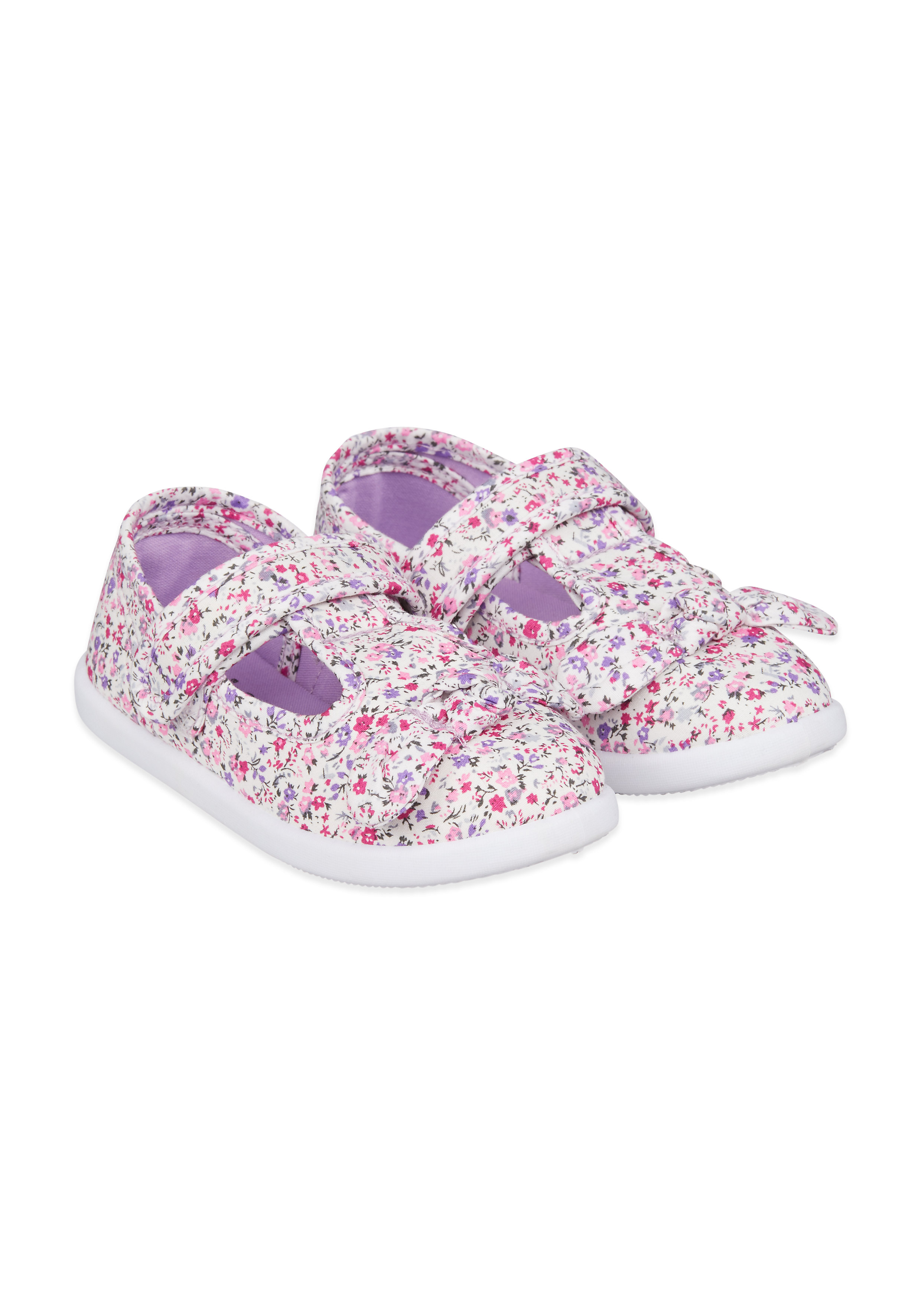 Mothercare   Girls Floral Canvas Shoes - Cream
