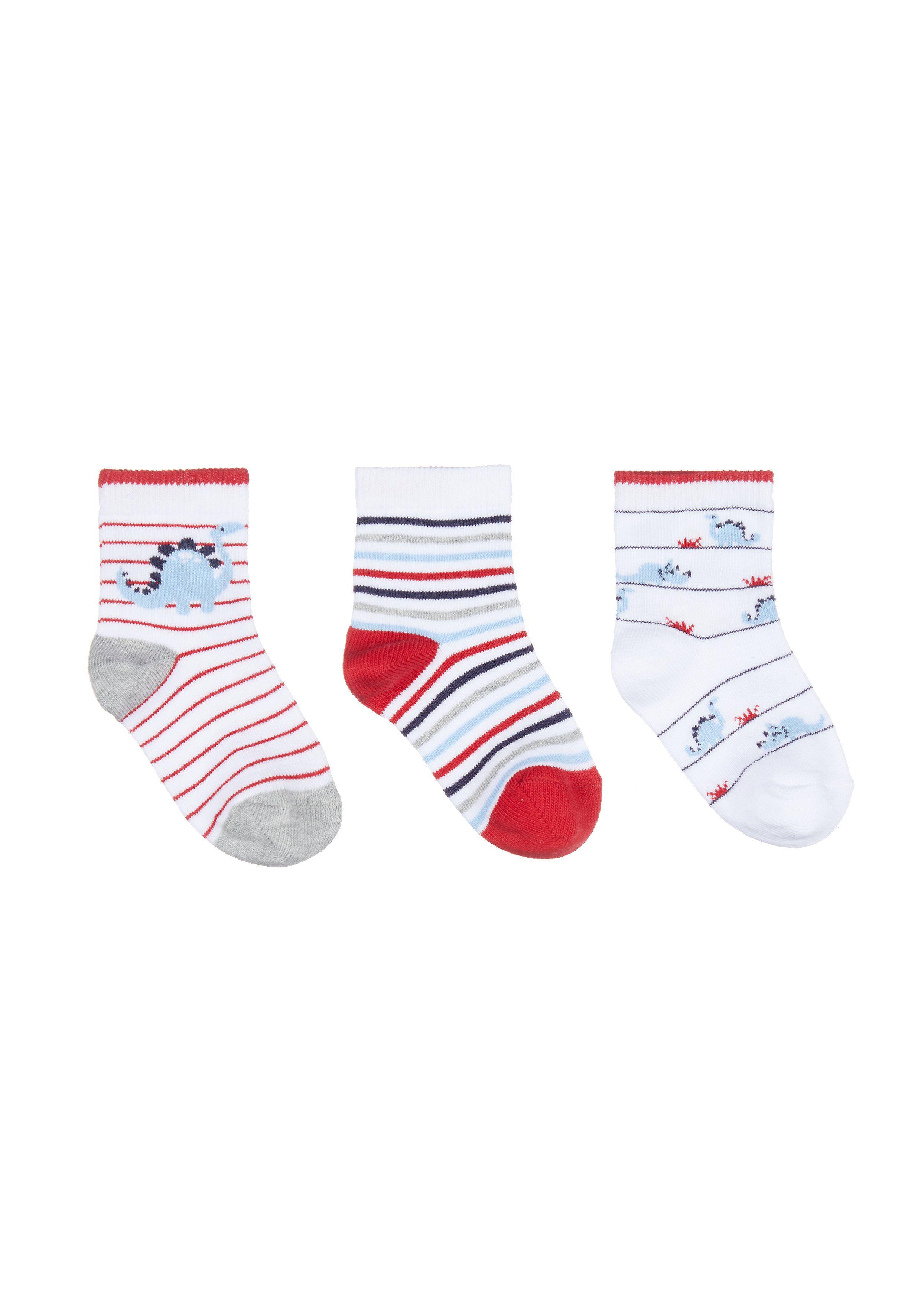 Mothercare | Boys Dino Stripe Socks - 3 Pack - Navy, Red & White