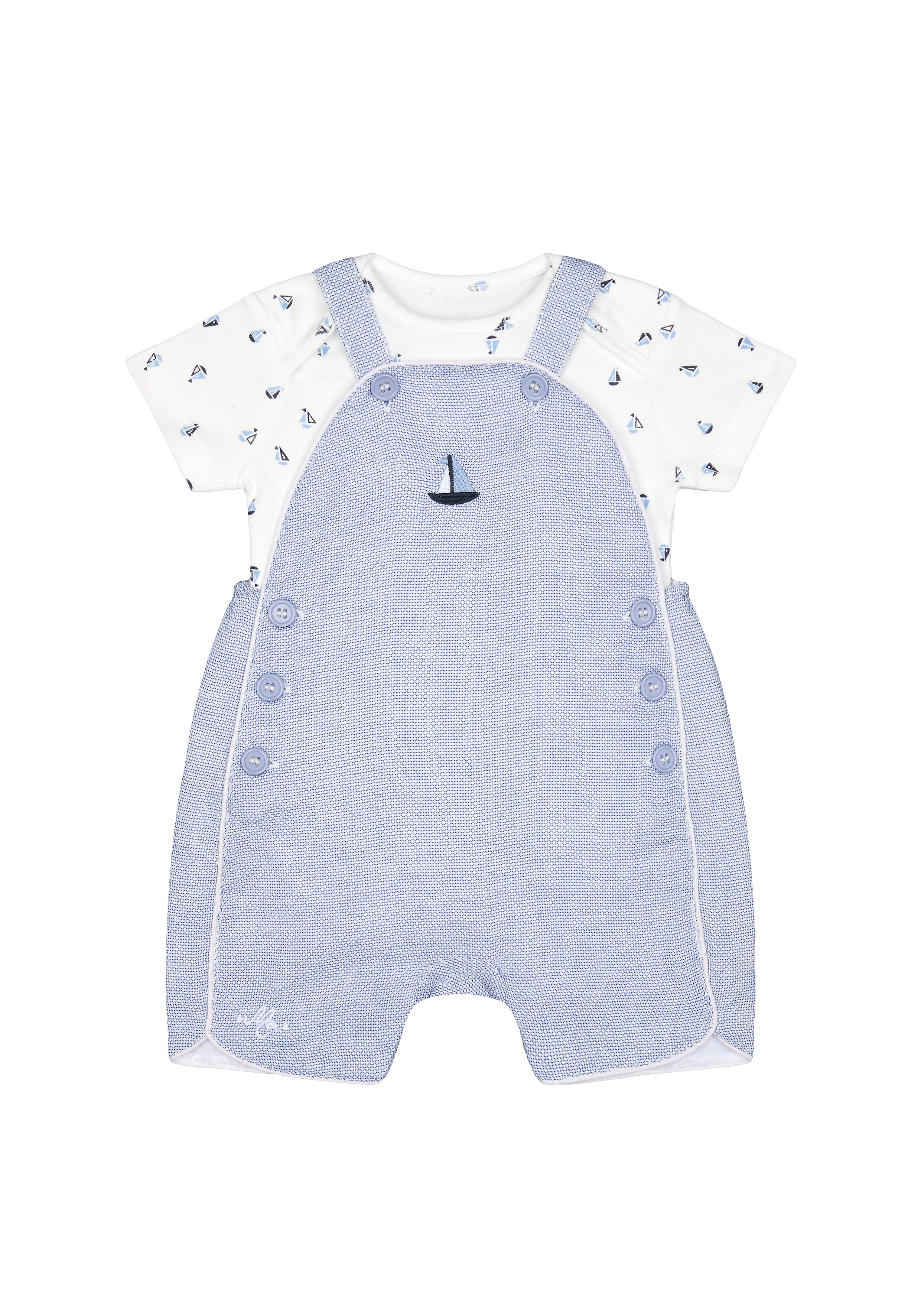 Mothercare | Boys Half Sleeves Dungaree Set Boat Embroidery - Blue